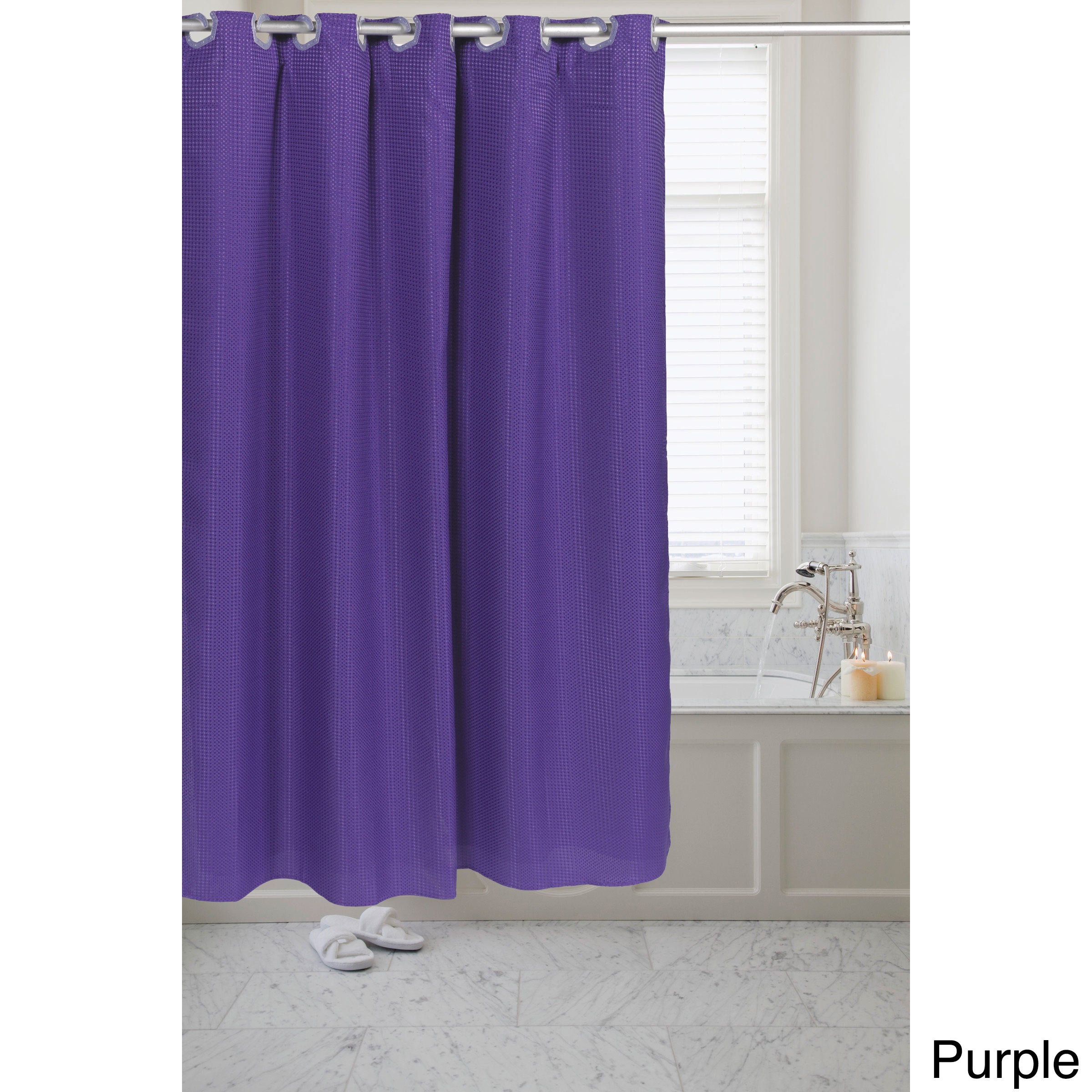 Waffle Weave Fabric Pre-hooked Shower Curtain - Free Shipping On ...