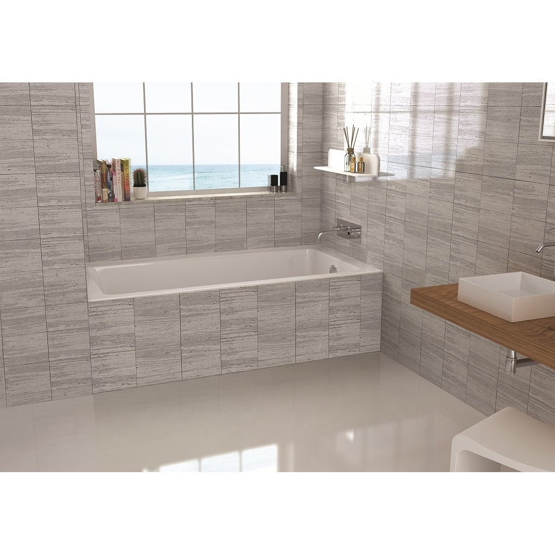 Shop Fine Fixtures 60-inch Alcove Bathtub With Right Side Fixed Tile ...