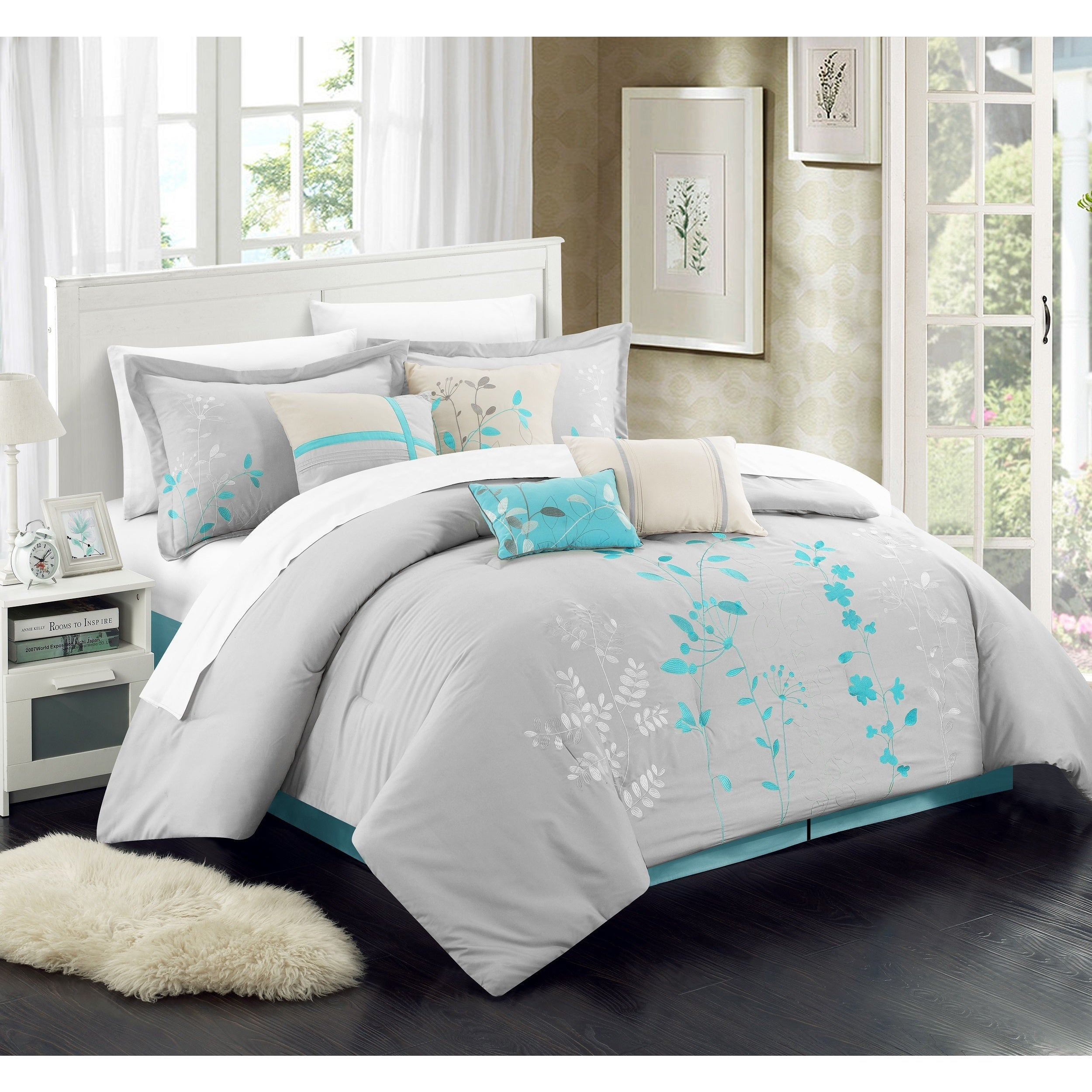 Shop Chic Home Fortuno Turquoise Embroidered 12-piece Bed in a Bag ...