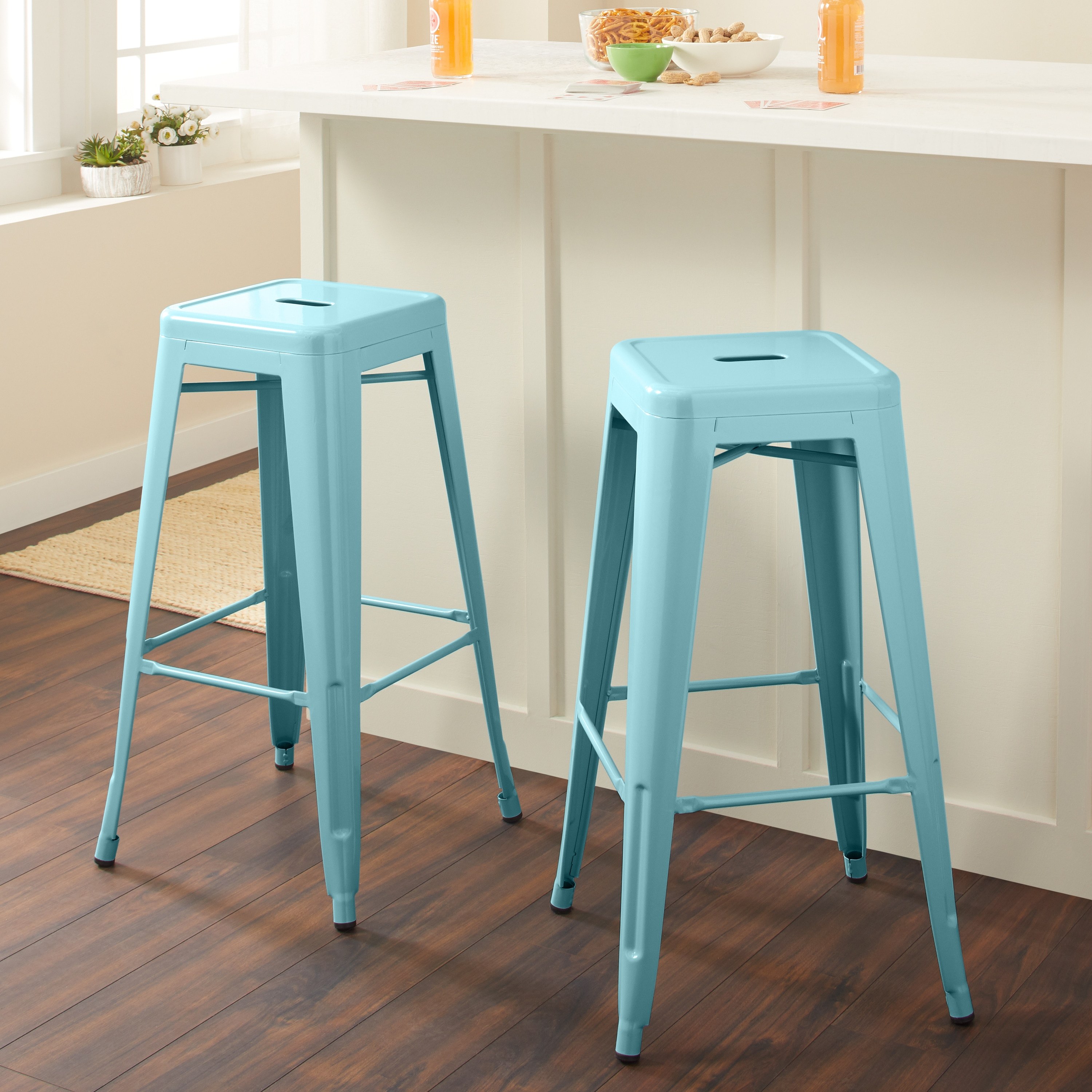 Shop Tabouret 30-inch Light Blue Bar Stool (Set of 2) - Free ...