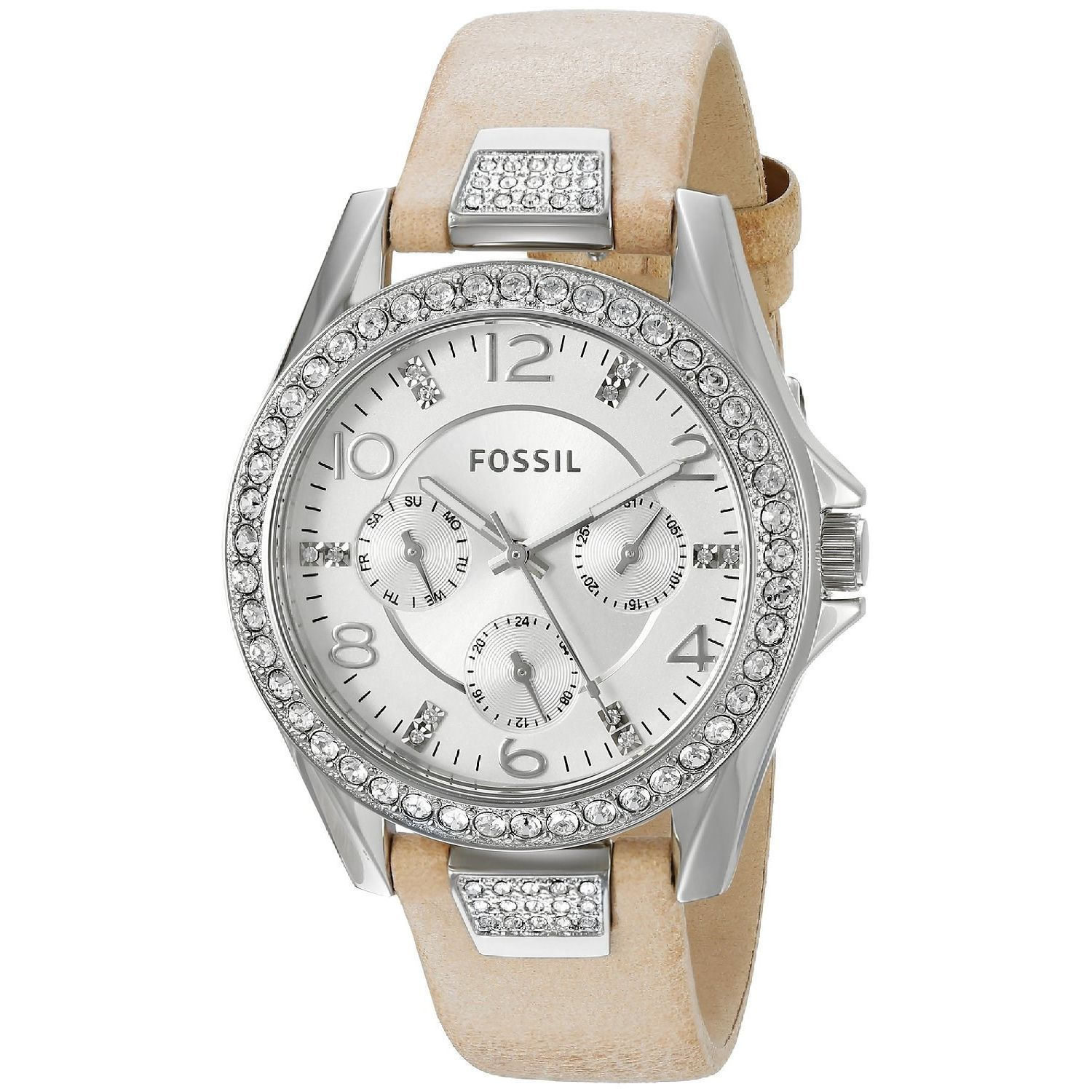 d245bf22f Fossil Women's ES3889 Riley Multi-Function Silver Dial Crystal Bezel Brown Leather  Watch