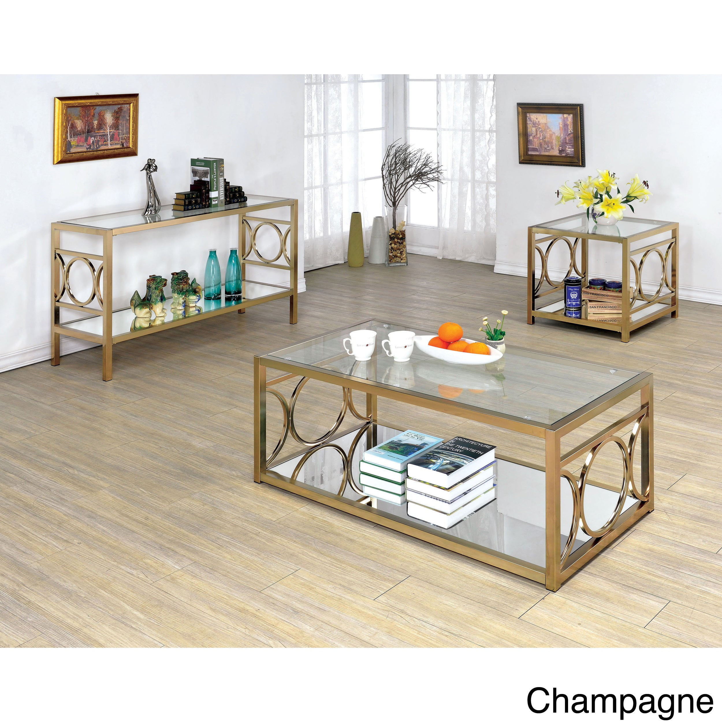 Furniture Of America Mishie Contemporary Glass Top Sofa Table  ~ Sofa Table With Glass Top