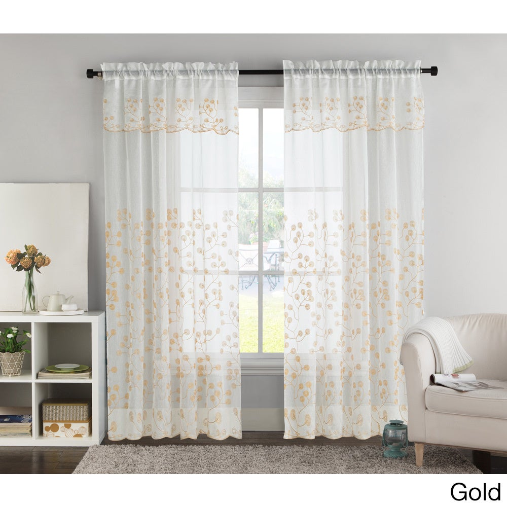VCNY Bailey Embroidered Curtain Panel with Attached Valance Free
