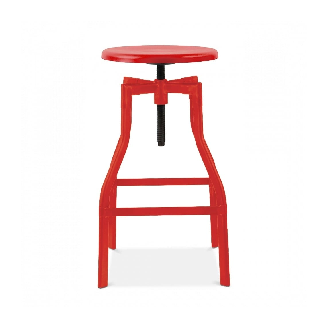 Shop Machinist Glossy Red Adjustable Steel Barstool 26 32 Inch