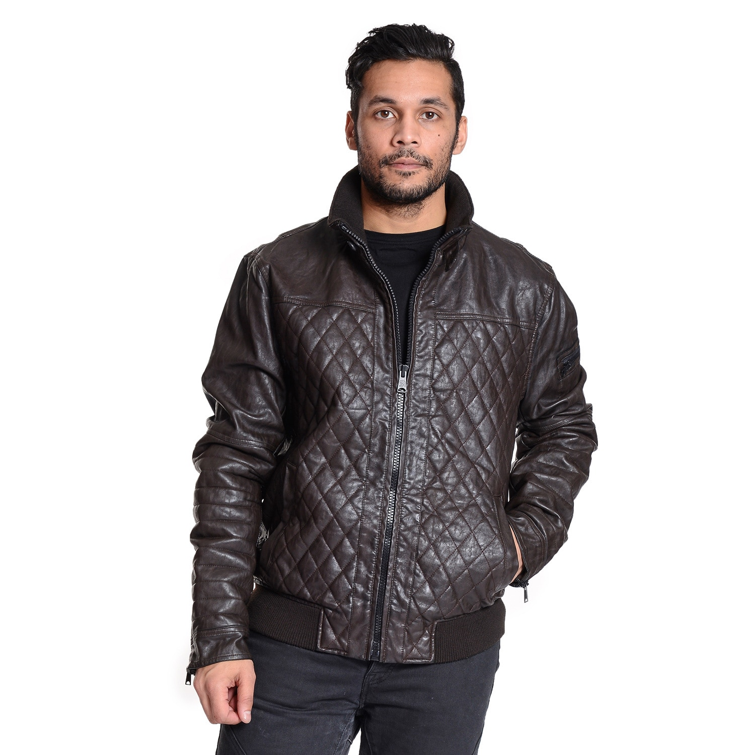 collar outerwear with p andrew quilt snapbutton c watkins distressed new faux colorblack marc coats color double quilted jacket moto sleeves york by leather