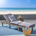 Ariana Acacia Outdoor Wood Chaise Lounge with Cushion by Christopher Knight Home