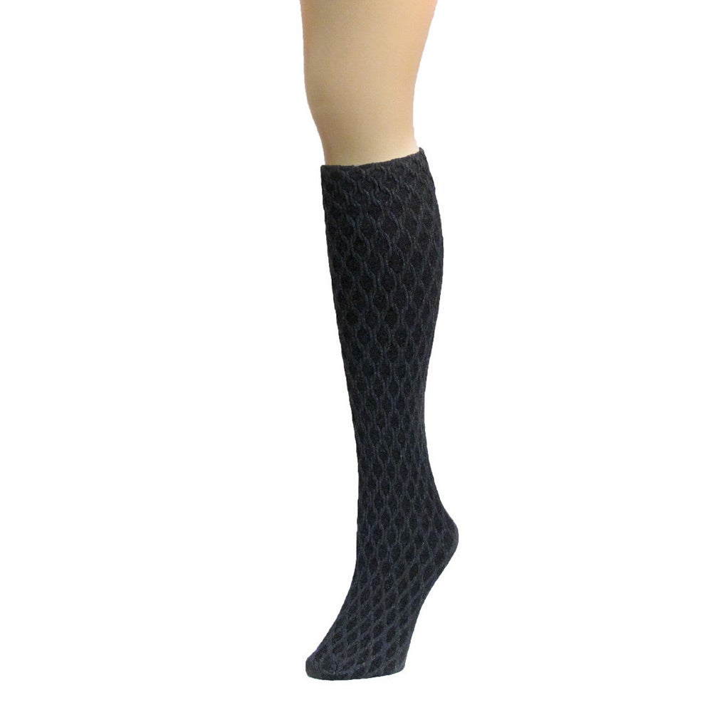 4f4e3e414 Shop Memoi Women s Exotic Diamond Opaque Knee High - Free Shipping On  Orders Over  45 - Overstock.com - 11143121