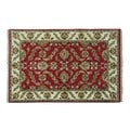 Red Think and Push Rajasthan Handmade Wool Oriental Rug (4' x 6')