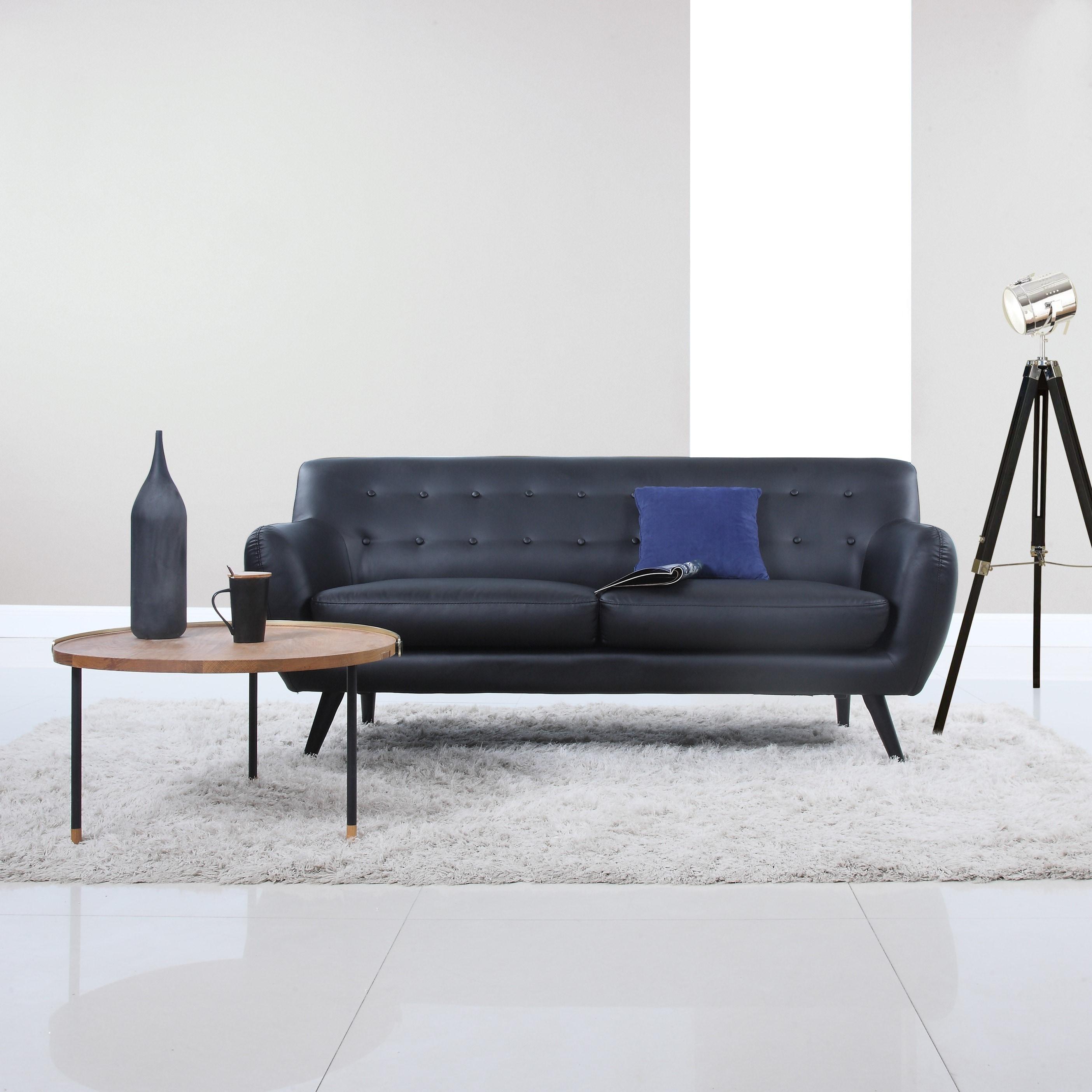Shop Mid Century Modern Bonded Leather Sofa Seat Living Room ...