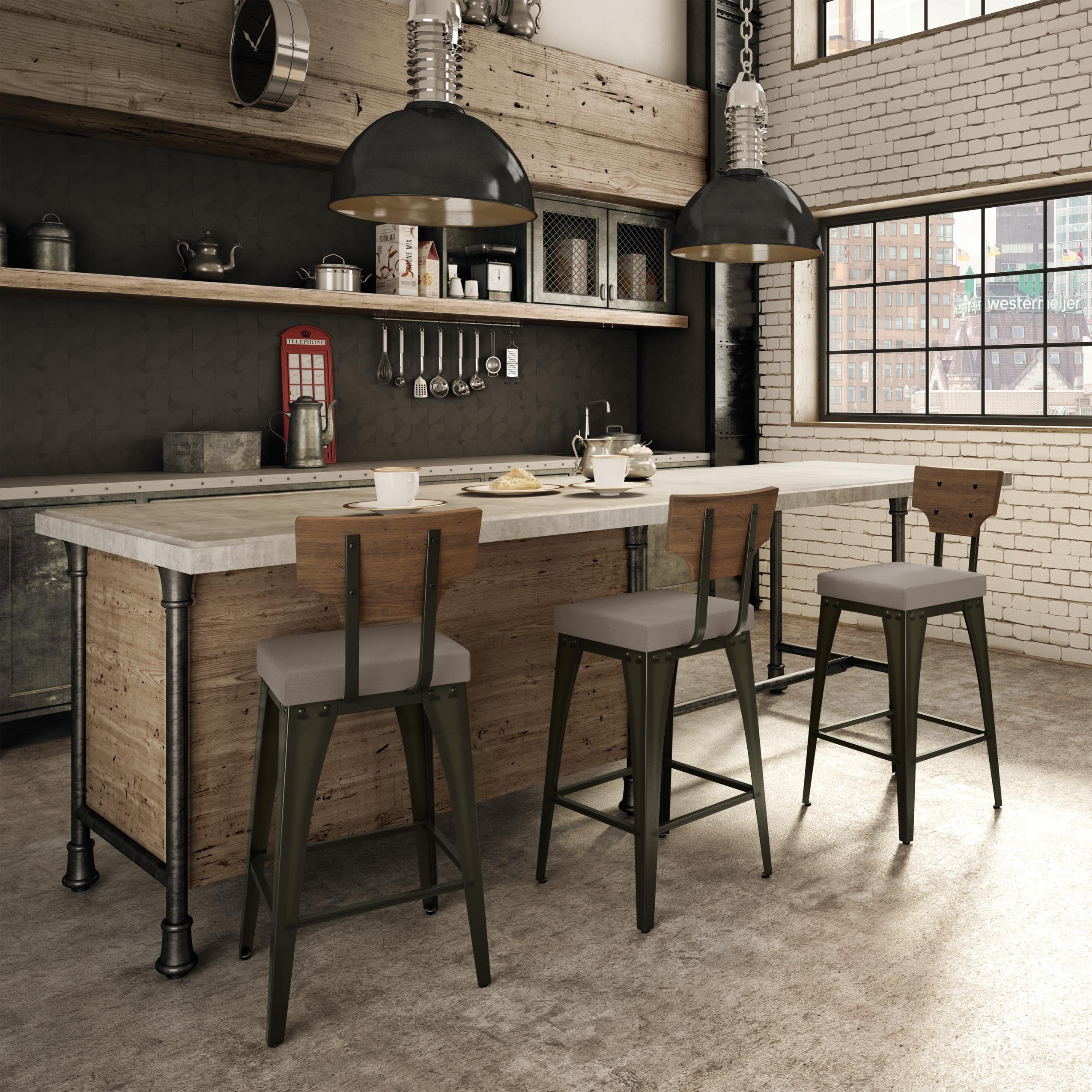 Shop Carbon Loft Kettering Metal And Wood Barstool Free Shipping