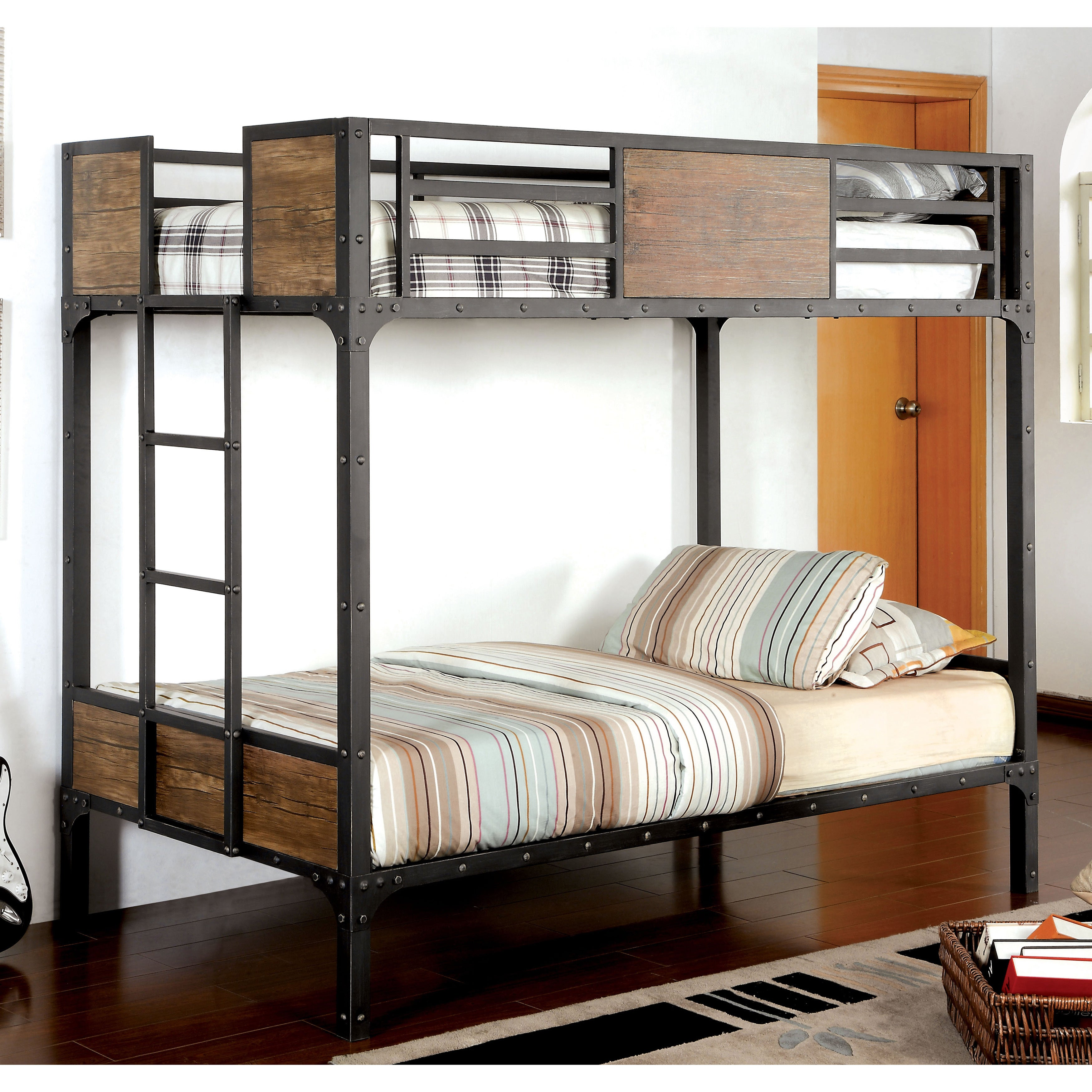 Shop Furniture of America Markain Industrial Metal Bunk Bed - On ...