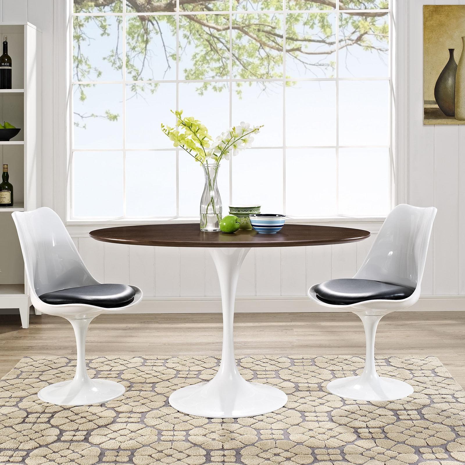 Lippa 48 Oval Shaped Walnut Dining Table