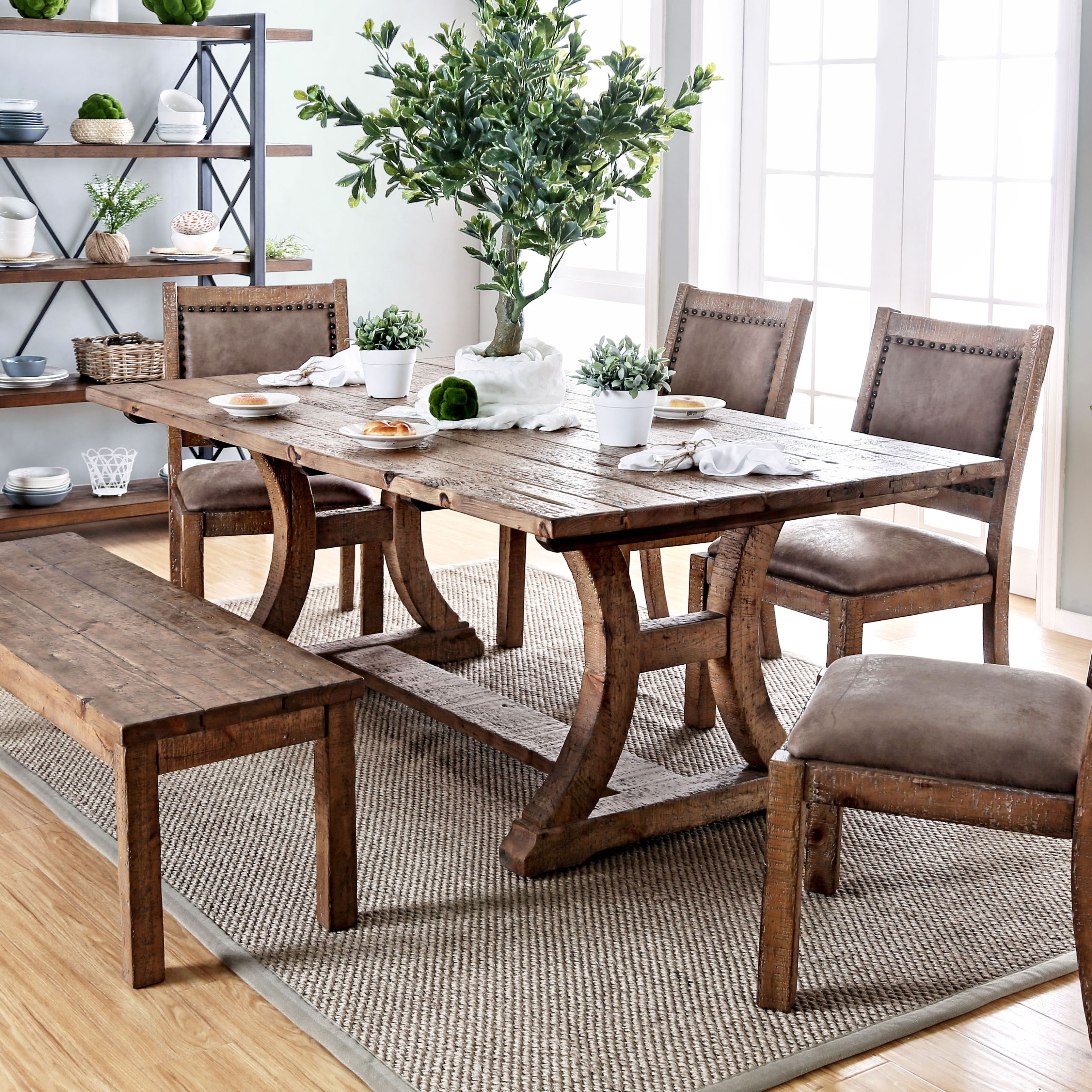 Shop furniture of america matthias industrial rustic pine dining table brown on sale free shipping today overstock com 11149919