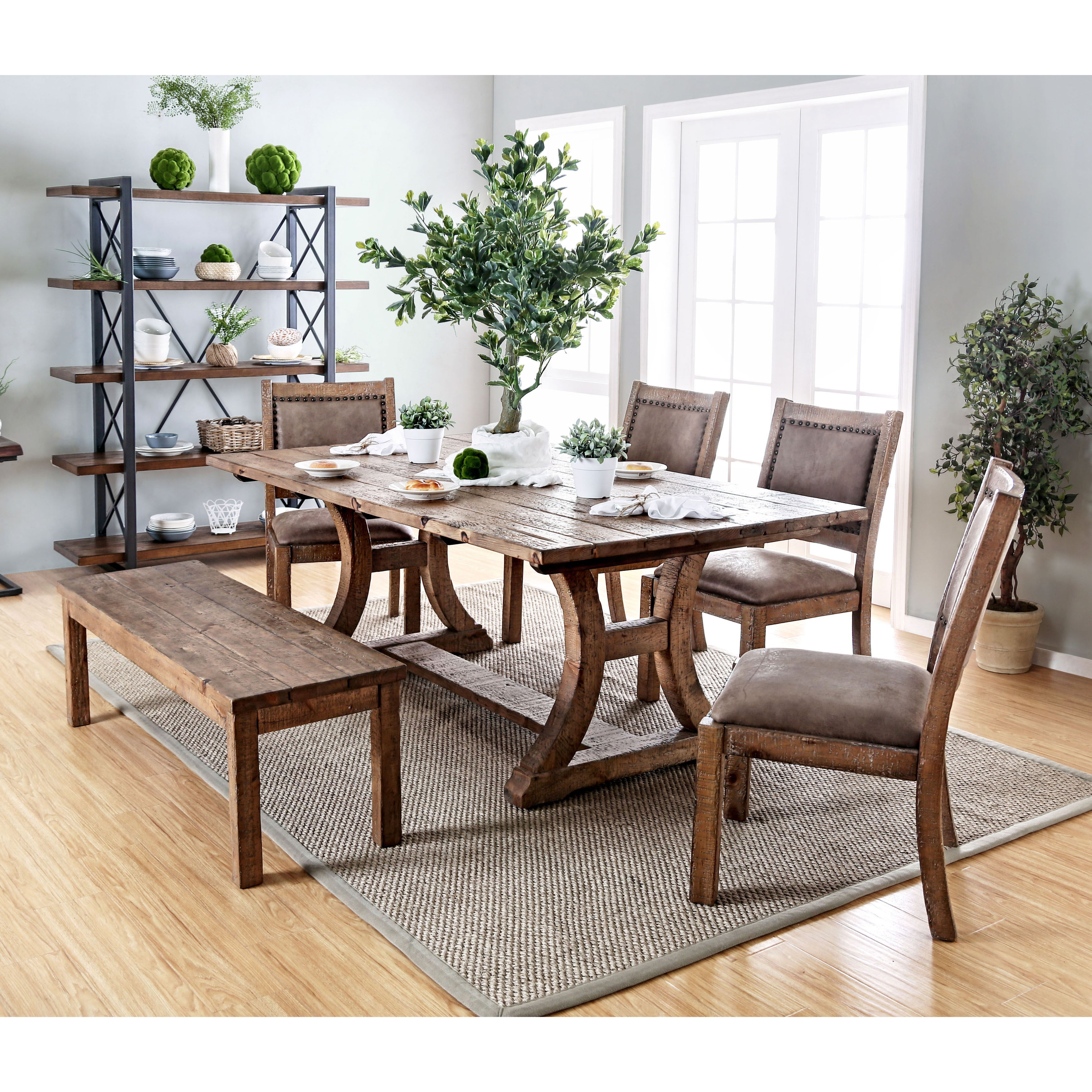 Matthias industrial rustic pine dining table by foa rustic pine by furniture of america