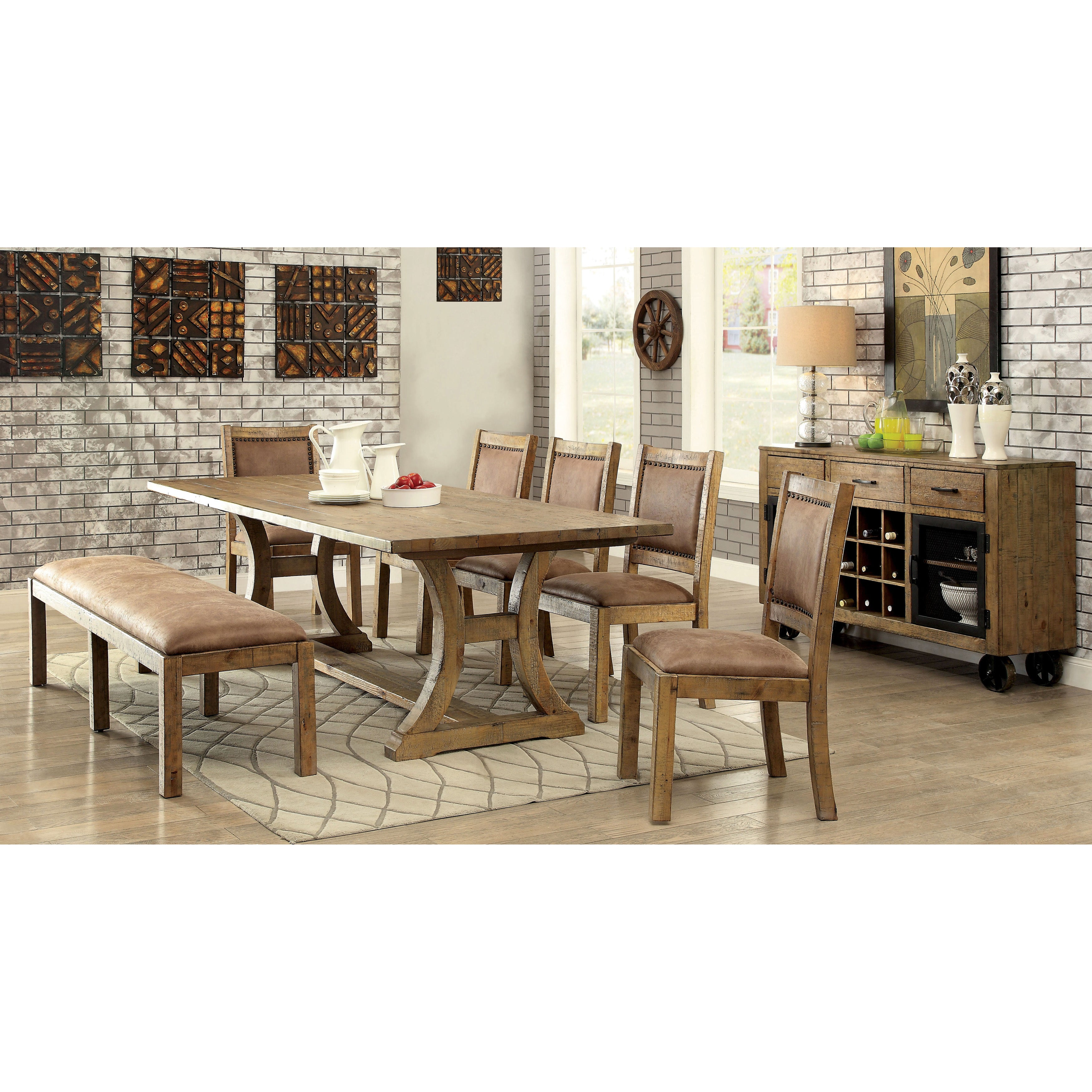 Furniture Of America Matthias Industrial Rustic Pine Upholstered Dining  Bench   Free Shipping Today   Overstock   18147487