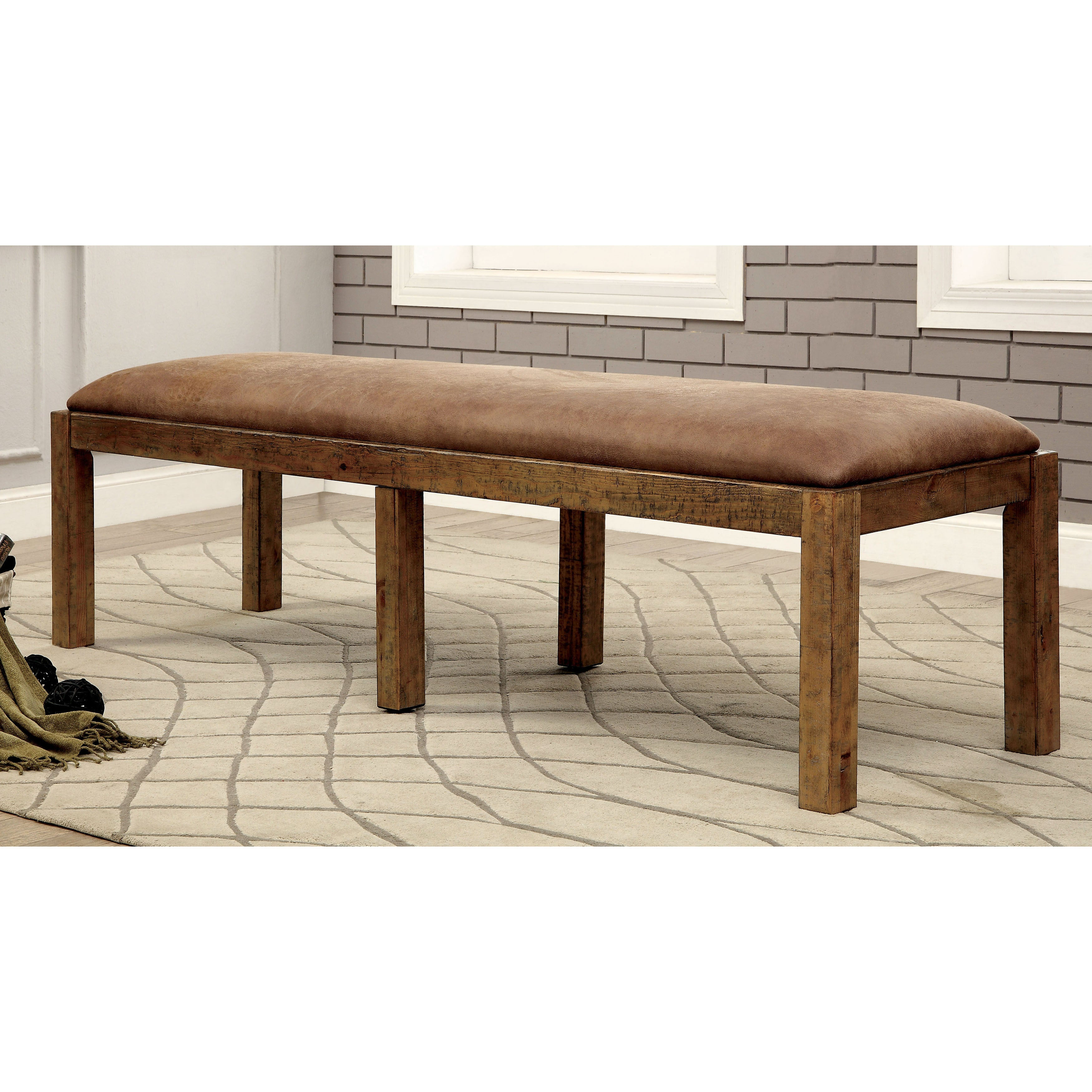 Shop furniture of america matthias industrial rustic pine upholstered dining bench free shipping today overstock com 11149921