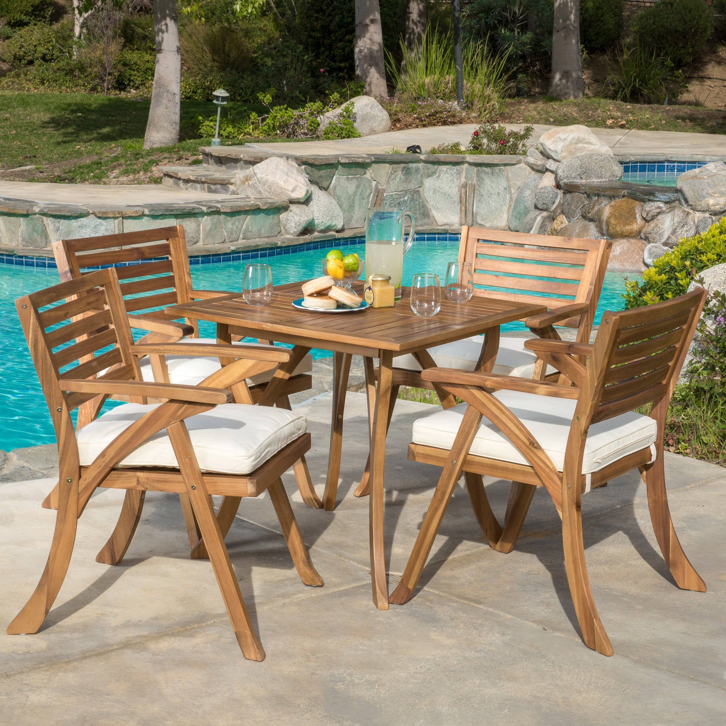 Shop Outdoor Hermosa 5-piece Acacia Wood Dining Set with Cushions by ...