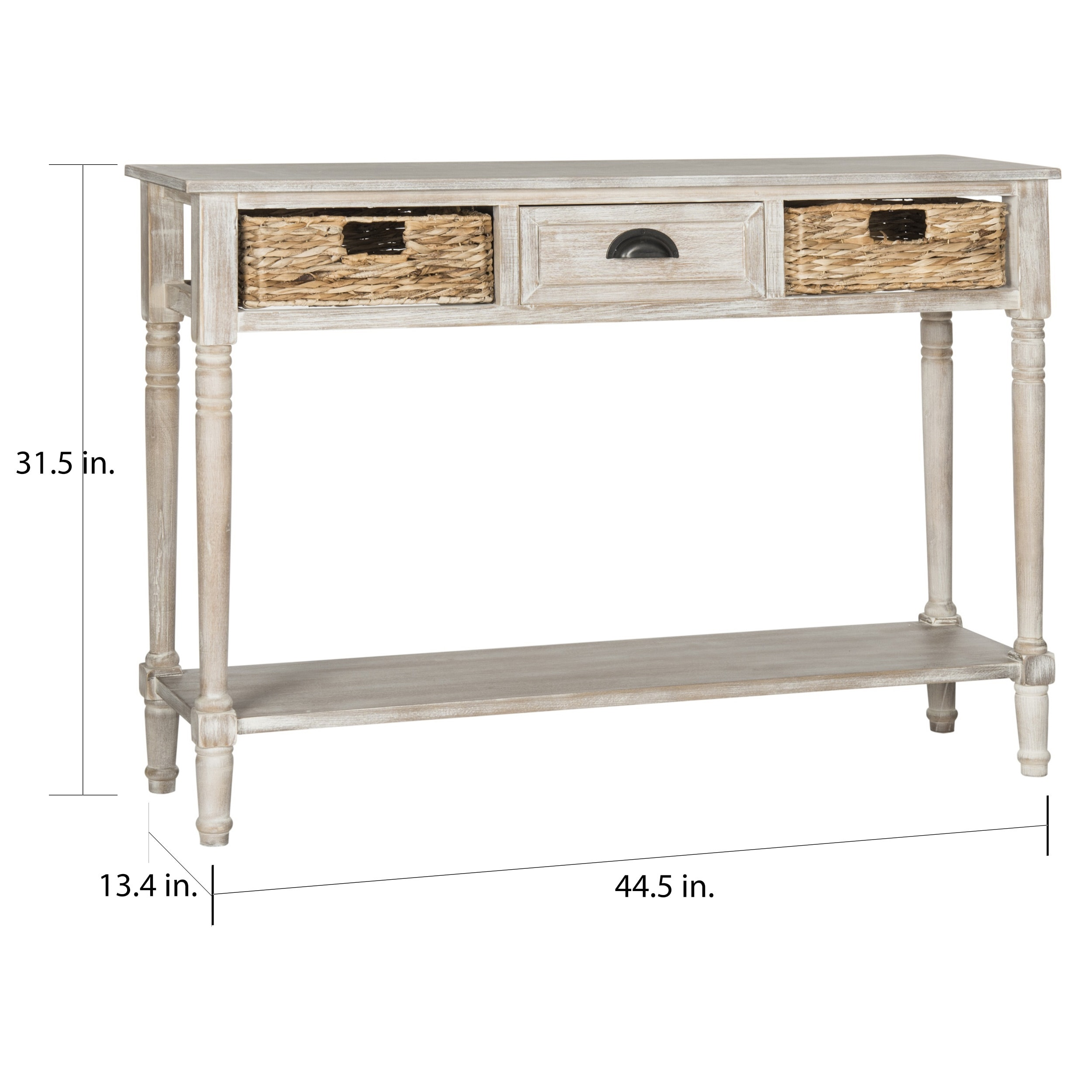Shop Safavieh Christa Vintage White Washed 3 Drawer Console Storage