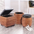 Adeco Brown Storage Ottoman Stool with Bulrush Weave, and Upholstery with Sponge Fill