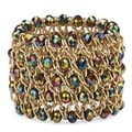"Round Mystic Crystal Curb-Link Chain Stretch Bracelet in Gold Tone 8"" Color Fun"