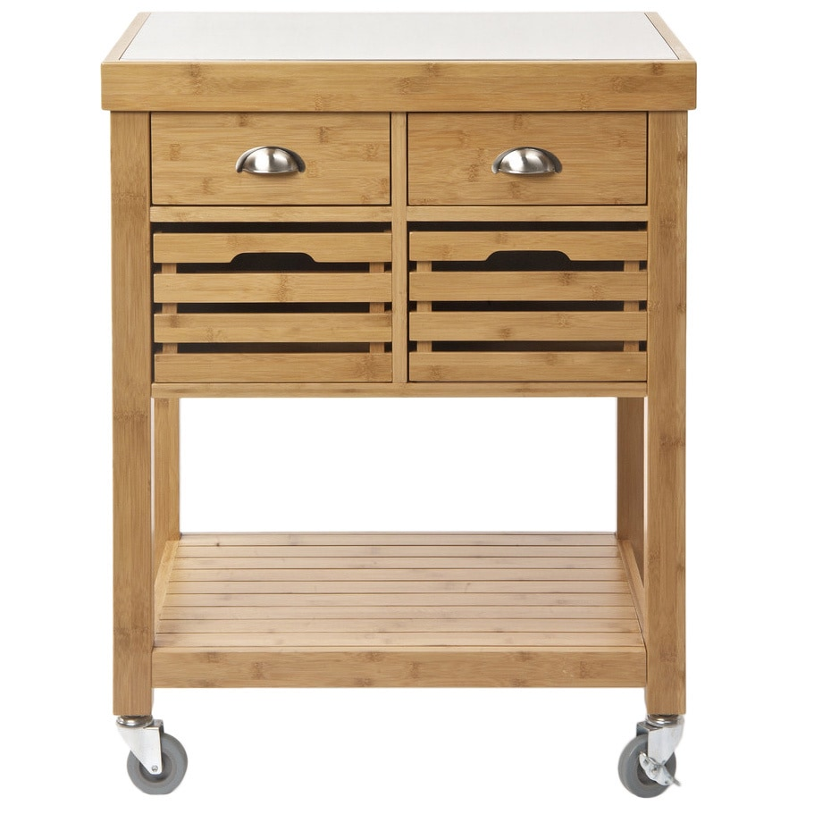 Charmant Havenside Home Litchfield Stainless Steel Top Bamboo Kitchen Cart   Free  Shipping Today   Overstock.com   18154337