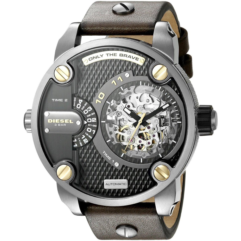 35e52d3e4034 Diesel Men s DZ7364 Daddies Series Automatic Dual Zone Black Skeleton Dial  Olive Leather Watch