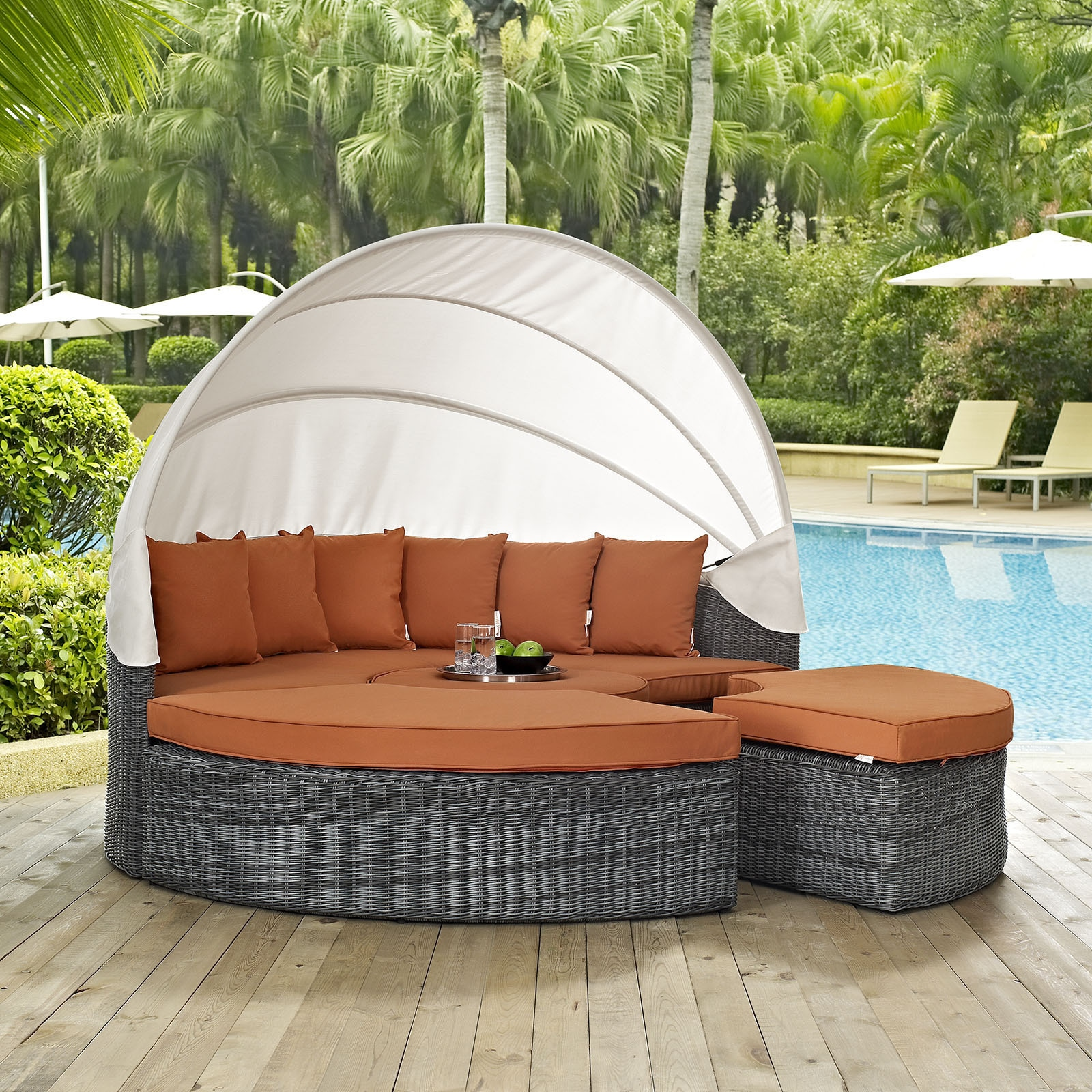 Shop Summon Canopy Outdoor Patio Daybed   Free Shipping Today    Overstock.com   11161395