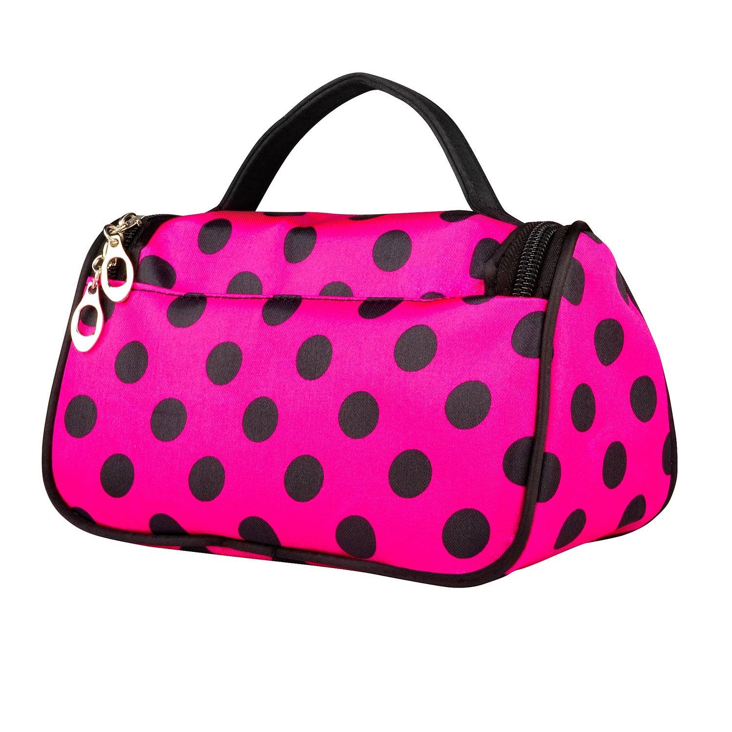 eff3356ae1 Shop Zodaca Women Satin Polka Dots Zipped Travel Hanging Organizer Cosmetic  Bag Makeup Case with Mirror - Free Shipping On Orders Over  45 -  Overstock.com - ...