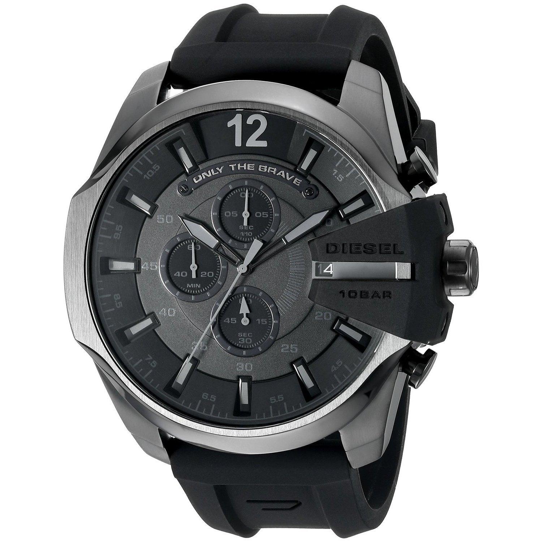 a1a0443885 Shop Diesel Men s DZ4378 Chief Chronograph Black Dial Black Silicone ...