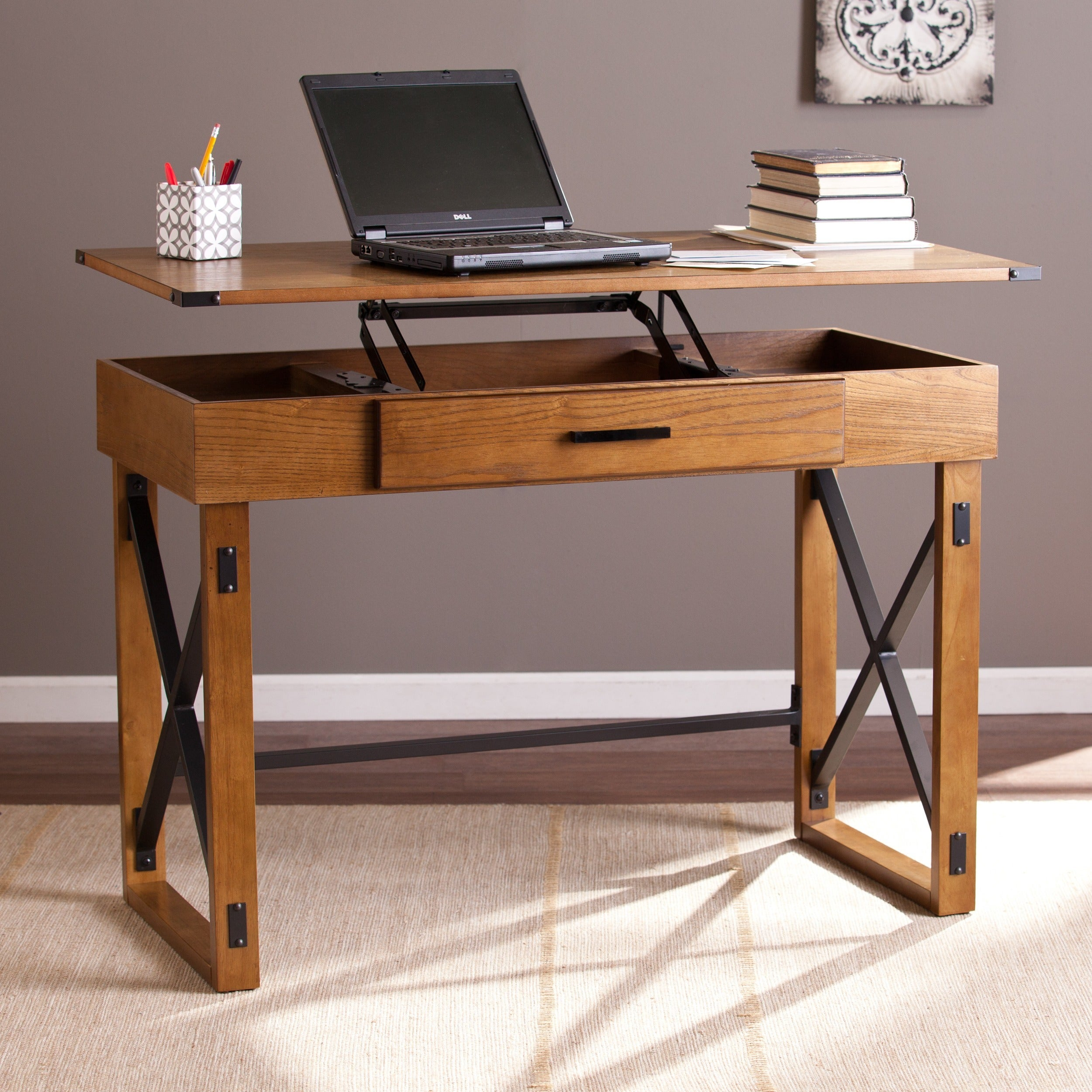 Harper Blvd Carlan Distressed Pine Adjustable Height Desk - Free Shipping  Today - Overstock.com - 18160896