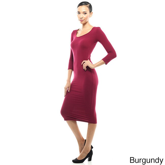 Shop Jed Women S 3 4 Length Sleeve Bodycon Midi Dress On Sale