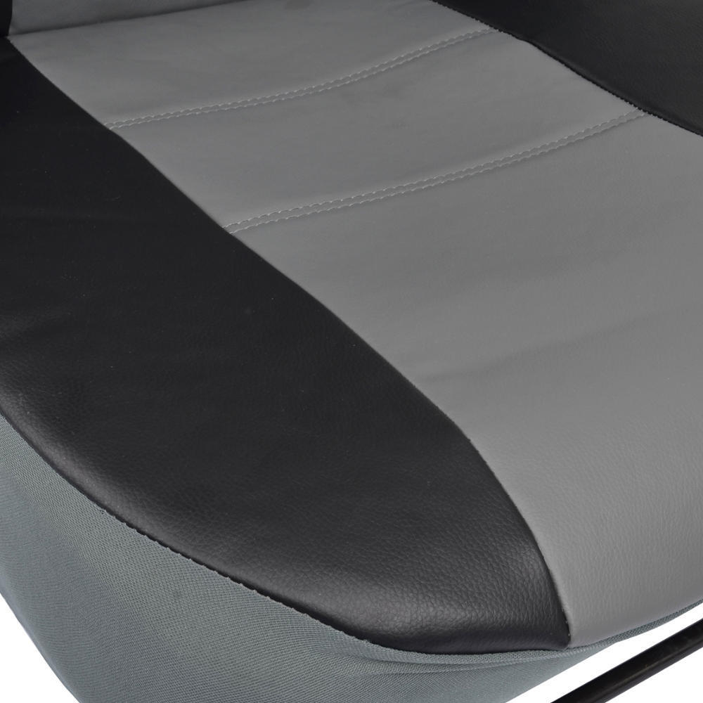 Motor Trend Black Grey Two Tone PU Leather Car Seat Covers Classic Accent Premium Leatherette Front Pair
