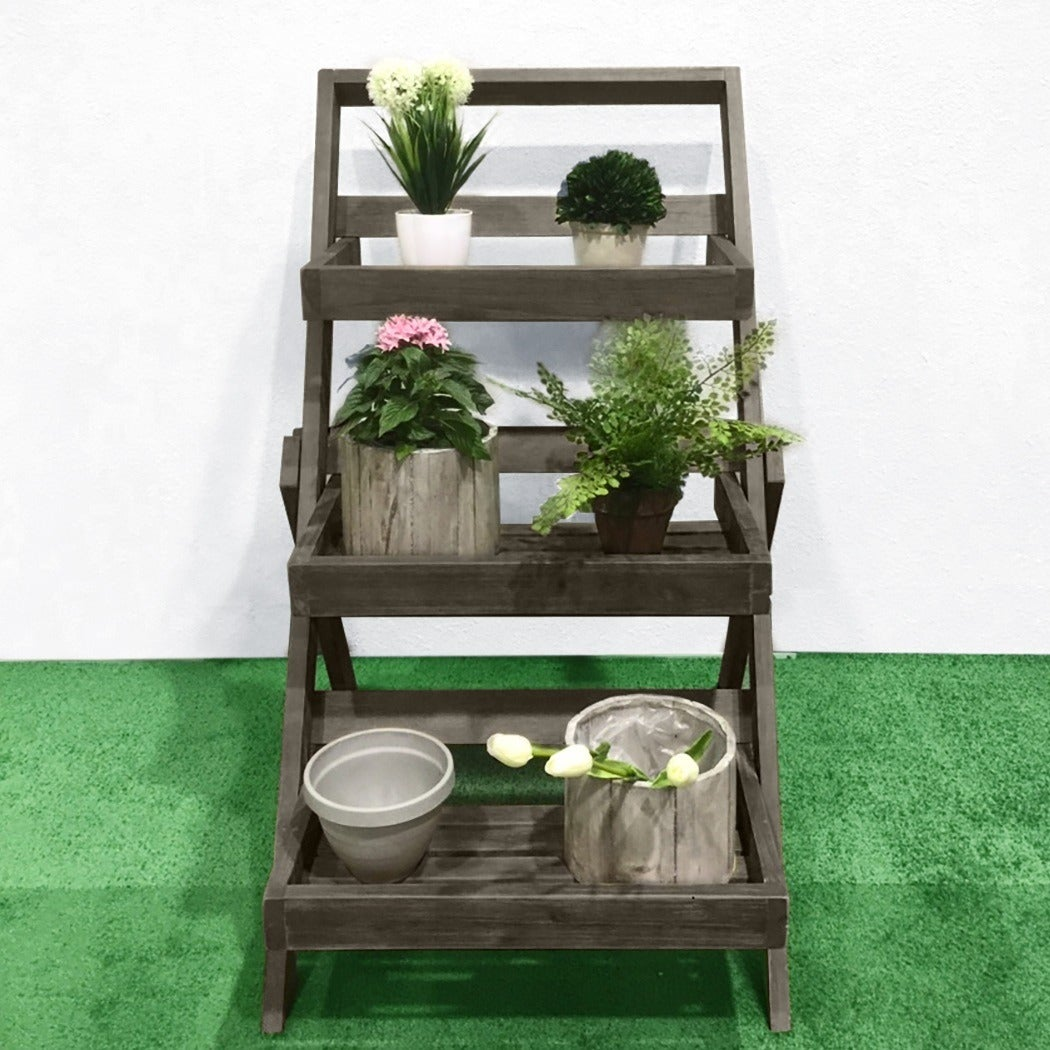 f5f2359600cb Shop Renaissance Eco-friendly Hand-scraped Hardwood Three-Layer Garden  Planter Stand - Free Shipping Today - Overstock - 11169981