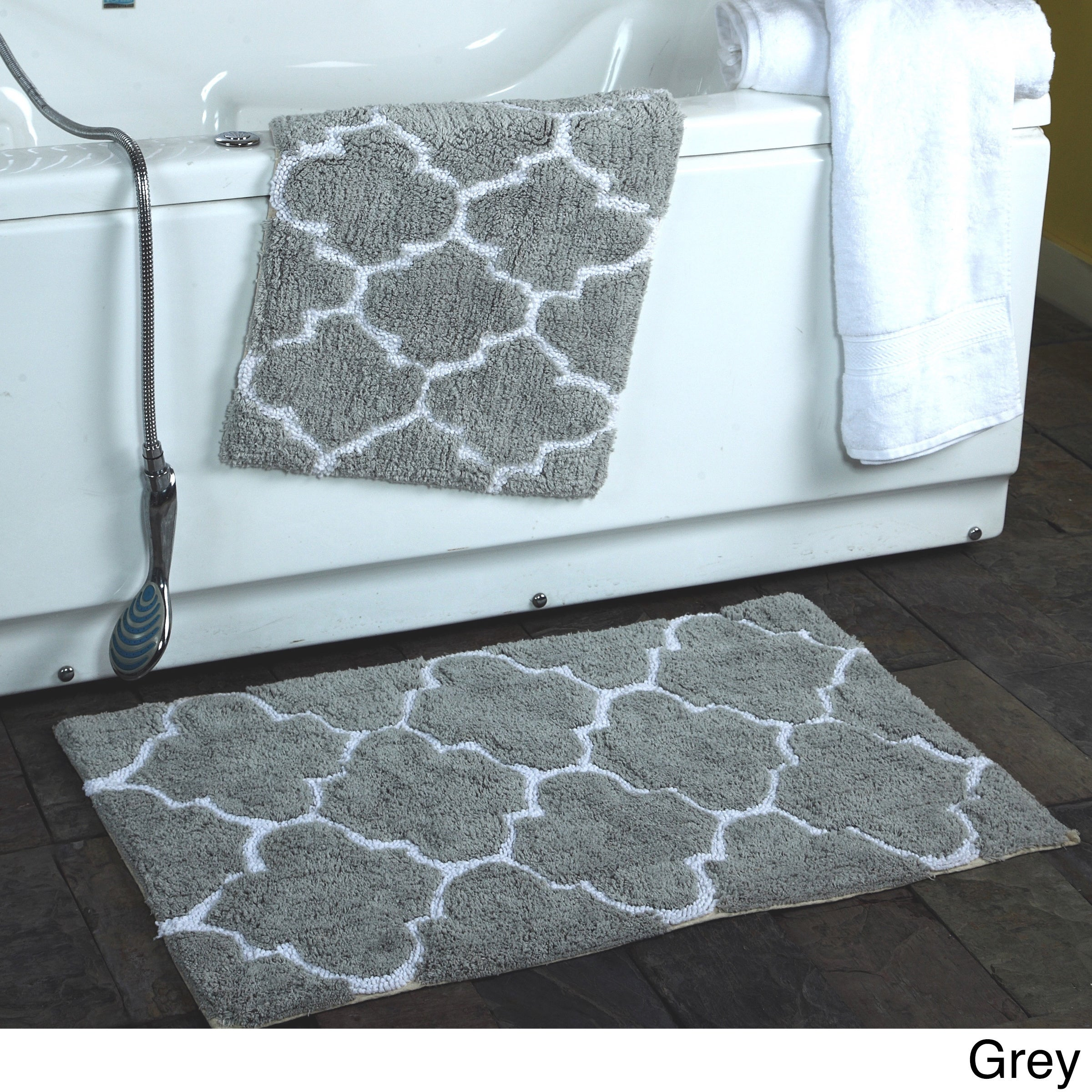 Shop 2-piece Moroccan Trellis 100-percent Cotton Bath Rug Set - 21 x ...