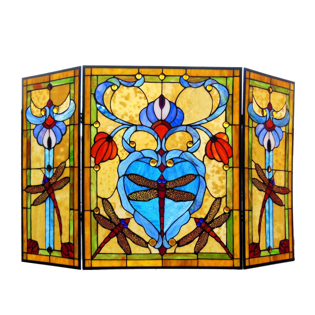 Chloe Victorian Style Dragonfly Design 3-panel Decorative Fireplace ...