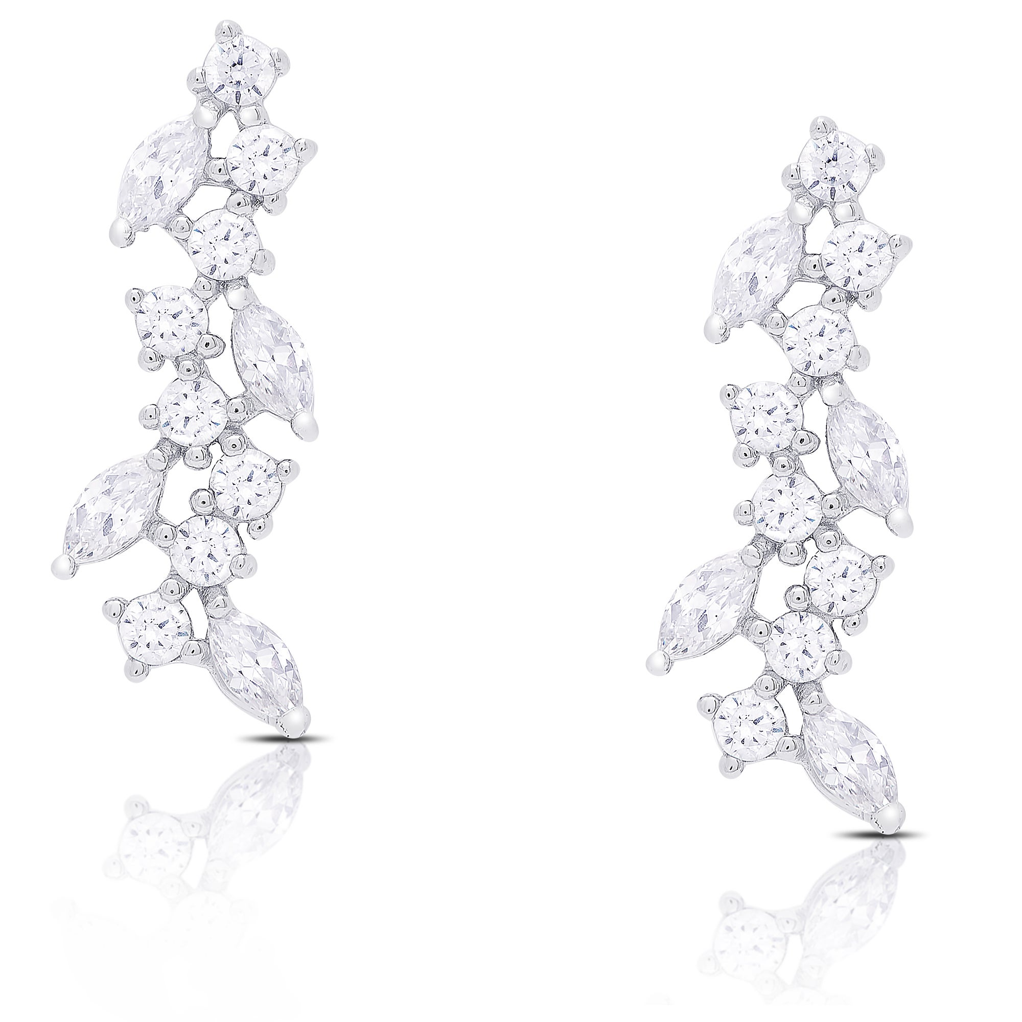 crafted white set in cluster gold earrings diamond row product quad p illusion tension