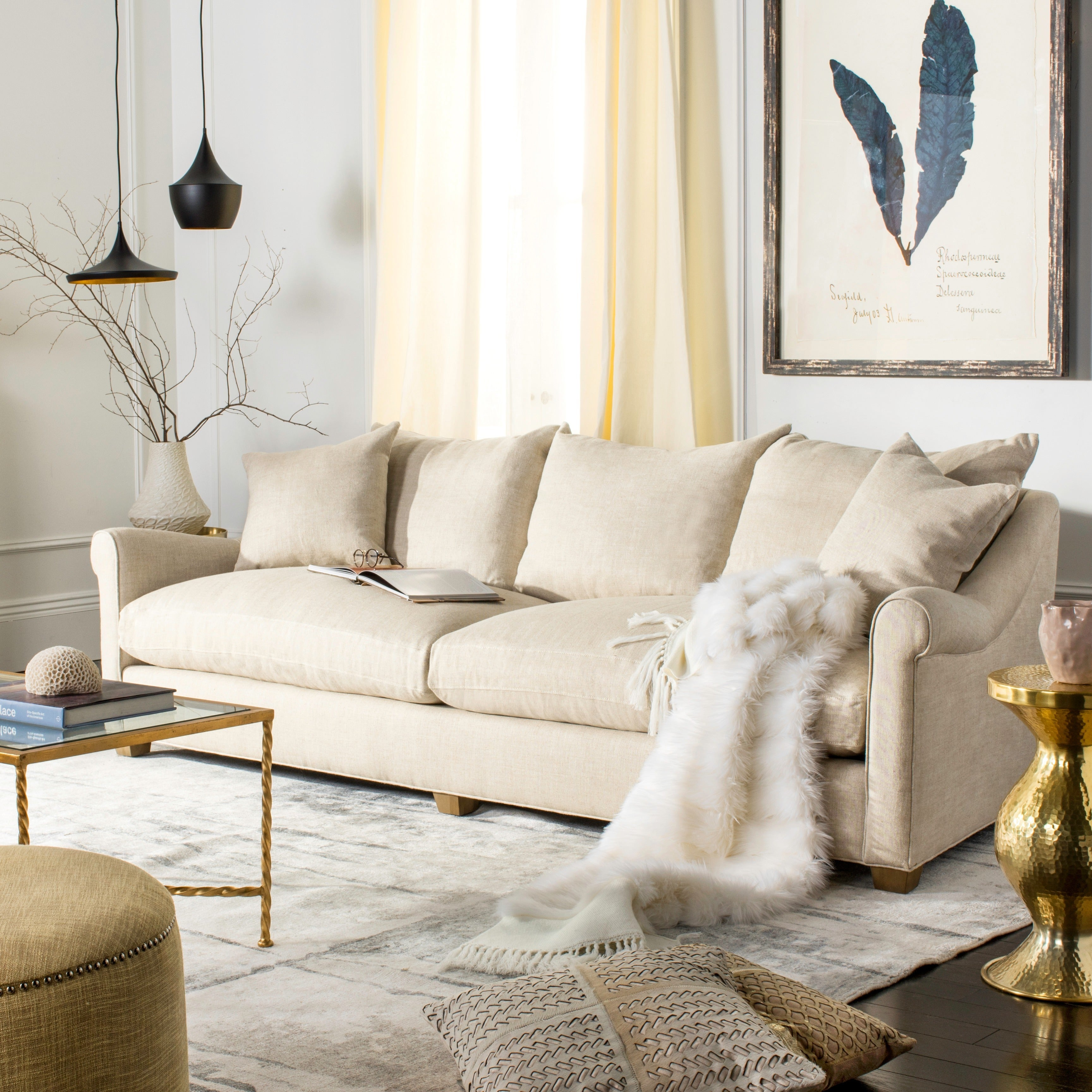 Safavieh couture high line collection frasier natural linen sofa