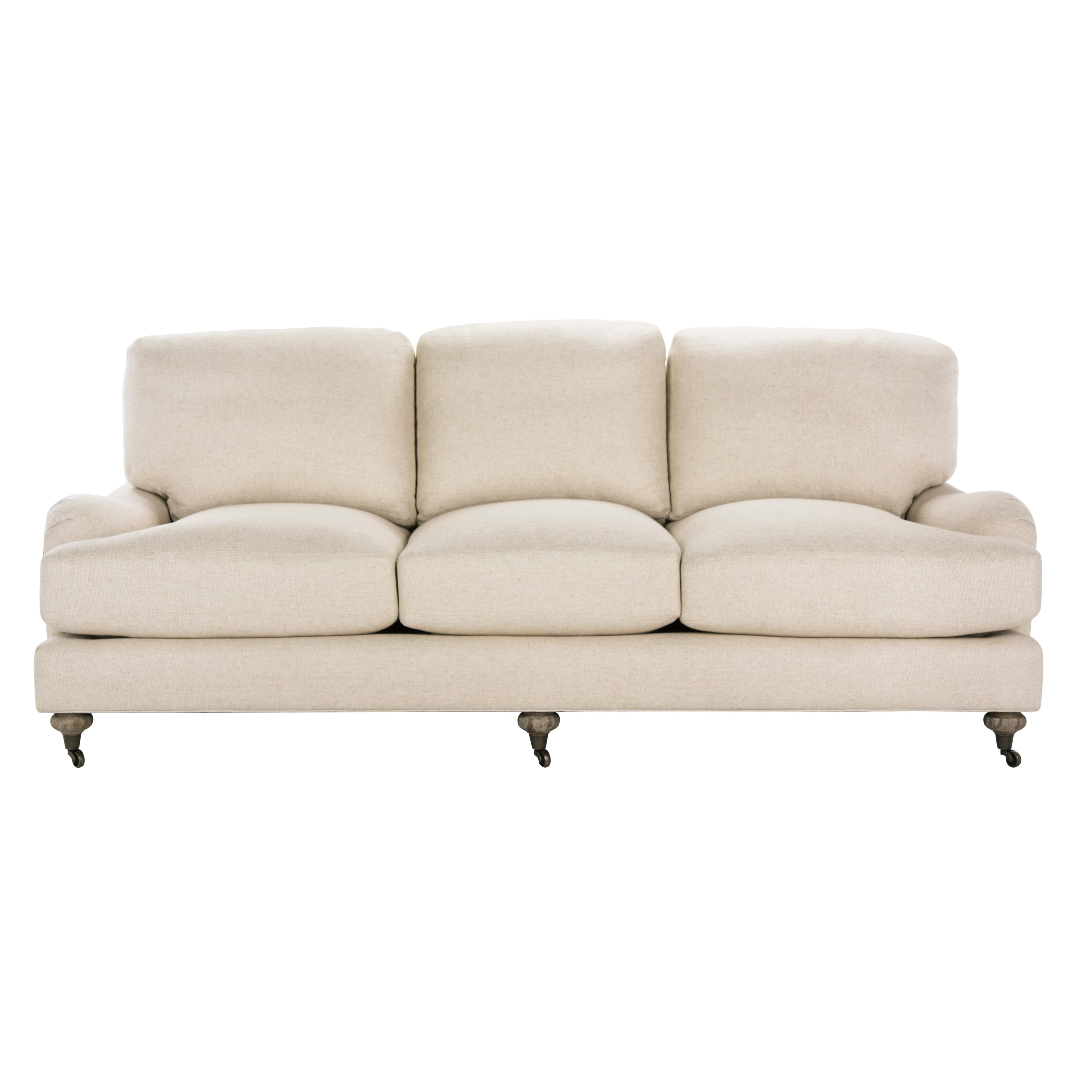 Shop Safavieh Couture High Line Collection Calvin Oak Natural Linen Sofa    Free Shipping Today   Overstock.com   11178838
