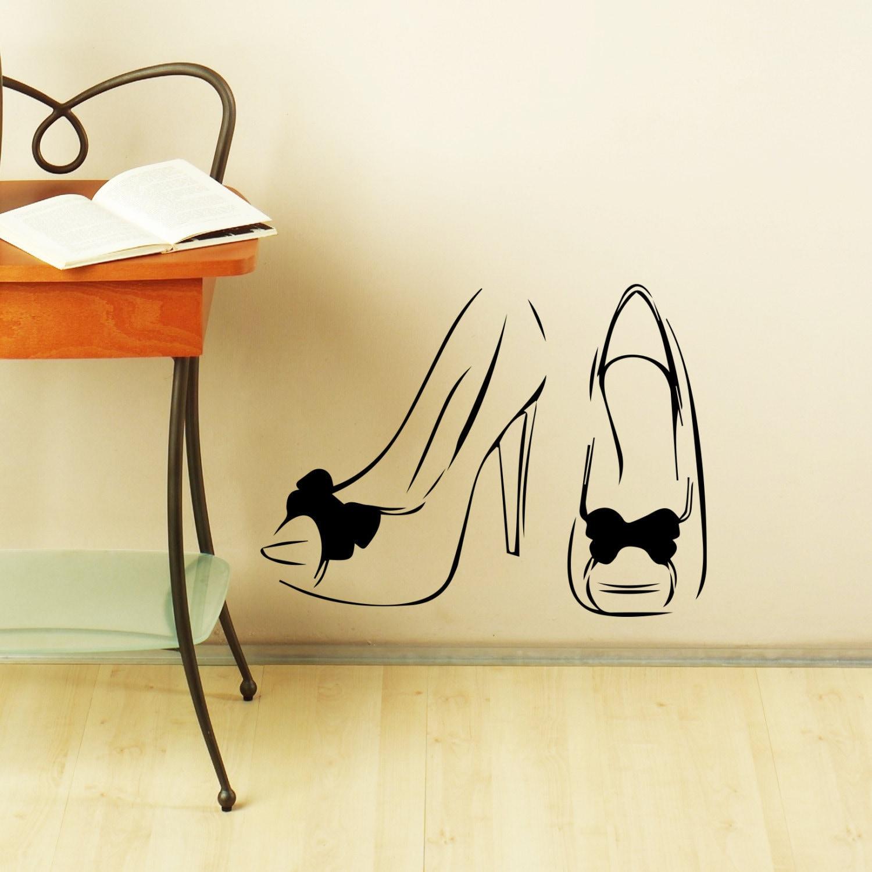 Shop Wall Decal Fashion Women\'s Shoes Girl Heels Styles Shoe ...