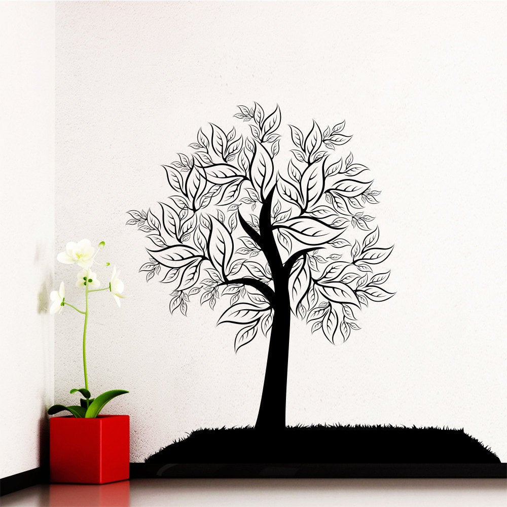 Wall Decal Tree Silhouette Leaves Forest Wall Bedroom Vinyl ... for Wall Sticker Tree Silhouette  83fiz