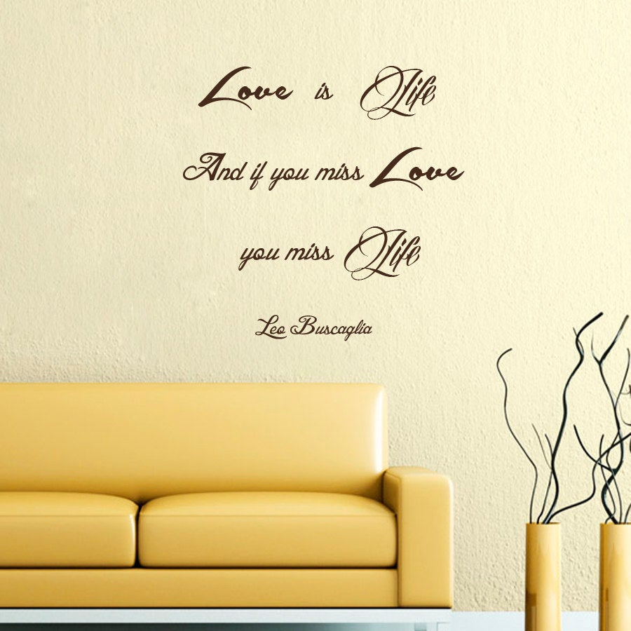 Shop Quote Love is Life Wall Art Sticker Decal Brown - Free Shipping ...