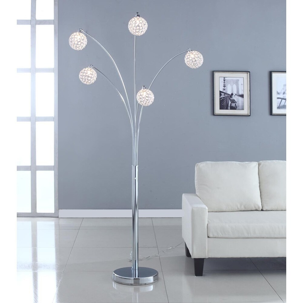 Artiva Usa Manhattan 84 Inch Modern Chrome 5 Arch Crystal Ball Floor Lamp With Dimmer Free Shipping Today 11189322