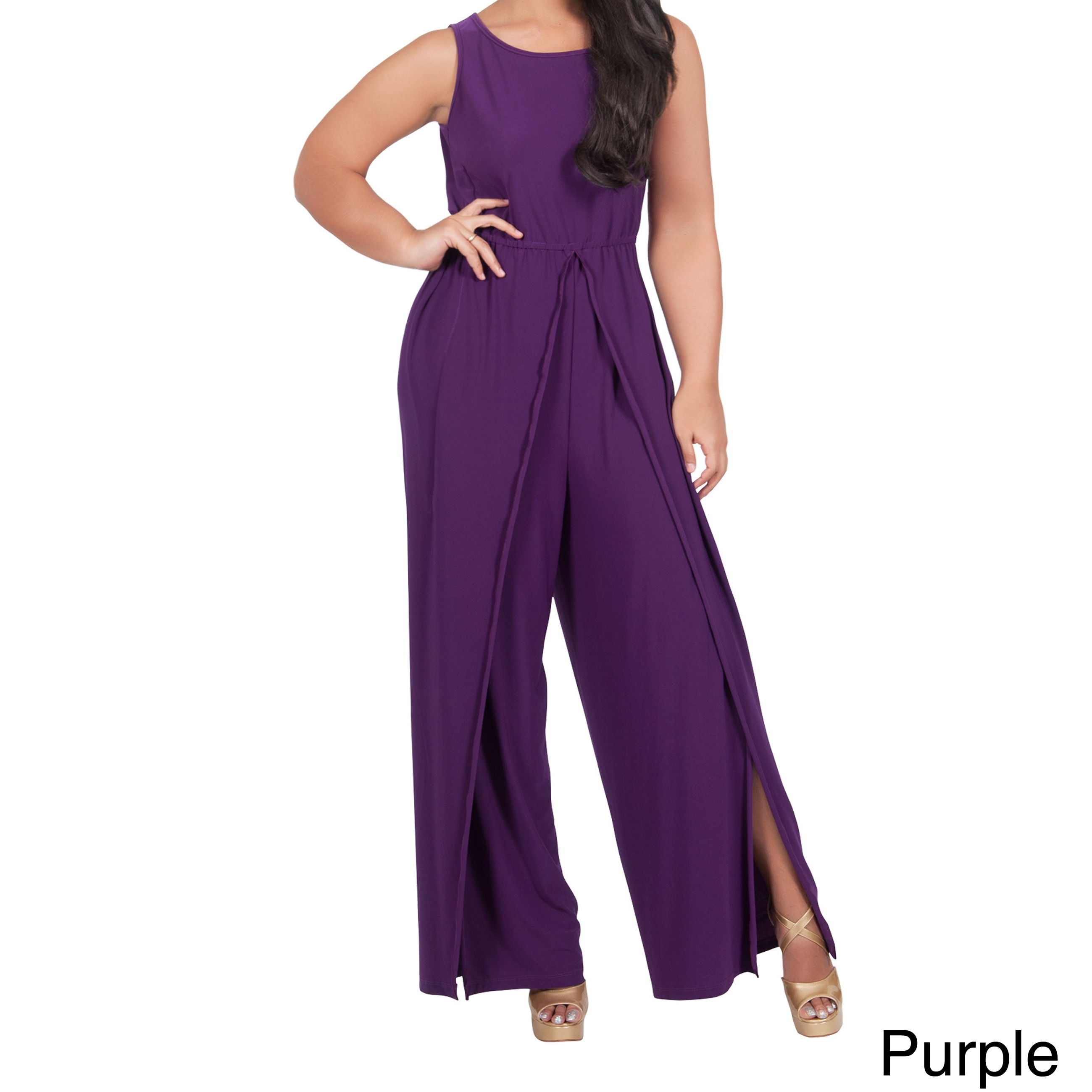 d0a75a069eb3 KOH KOH Women s Plus Size Sleeveless Round Neck Slimming Flared 1-piece  Pantsuit with Side Slits