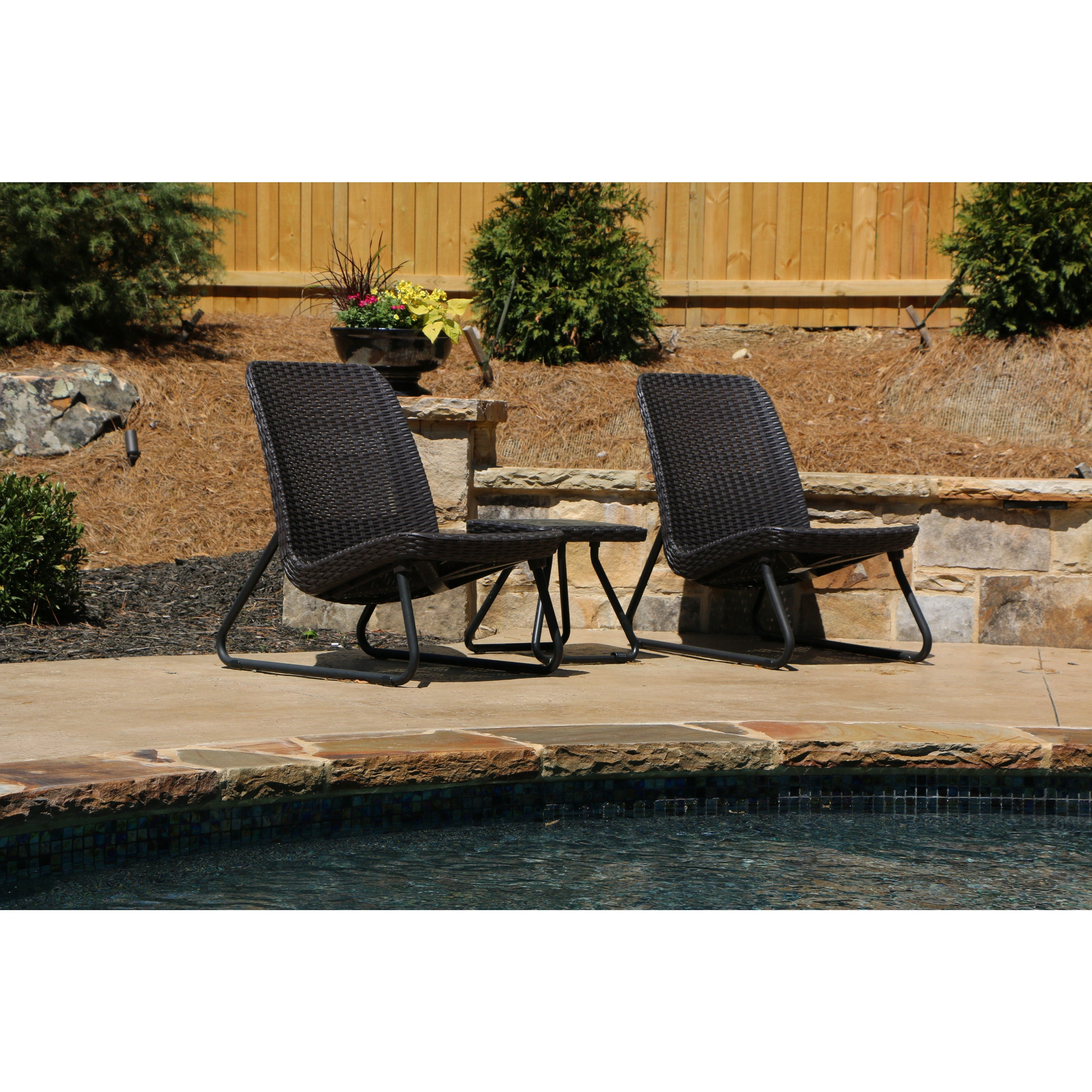 Keter Rio 3 Piece All Weather Outdoor Conversation Chair and Table