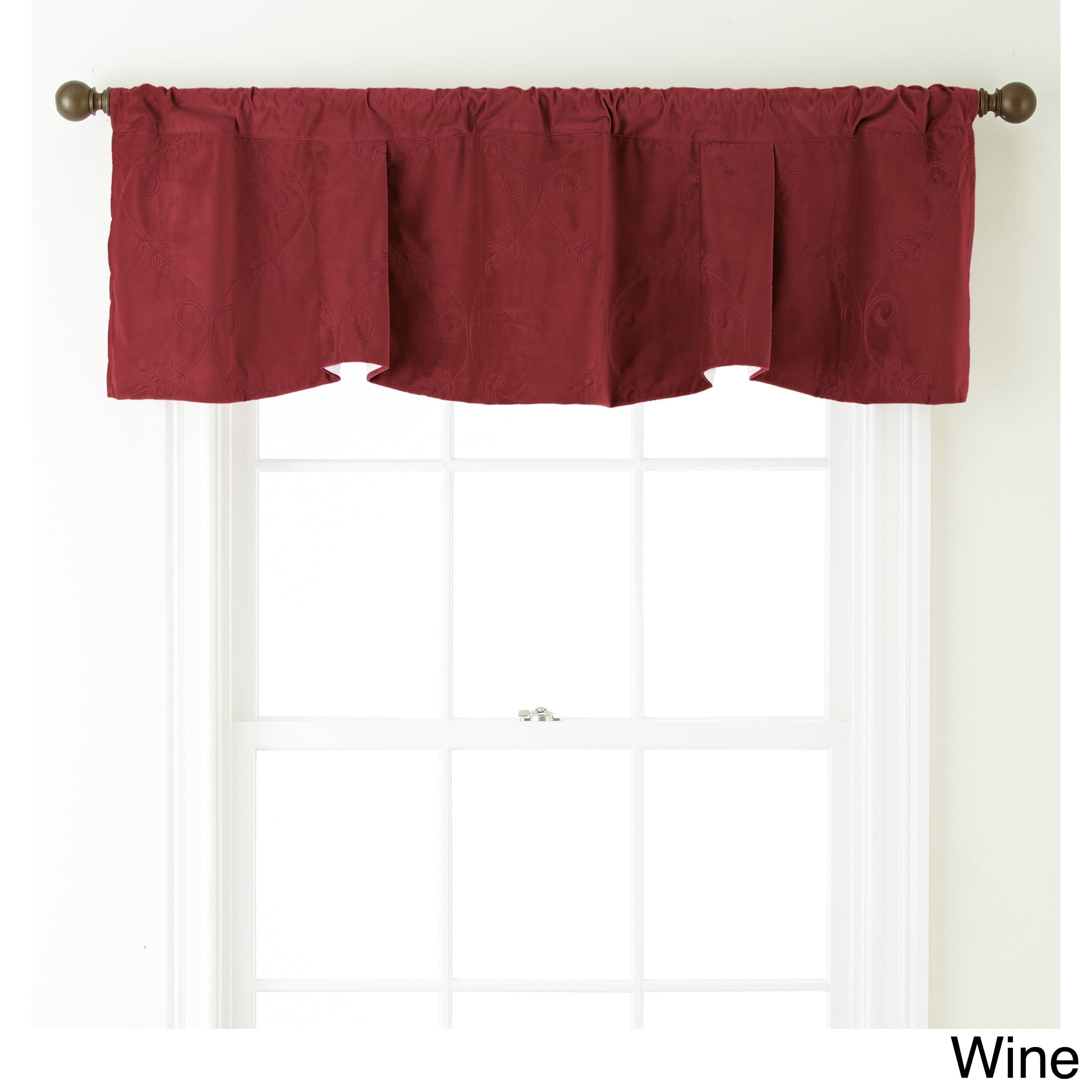 amazing Red And Grey Valance Part - 12: Shop Nanshing Velvet 54 x 18-inch Embroidered Curtain Valance - 54 x 18 -  On Sale - Free Shipping On Orders Over $45 - Overstock.com - 11189927
