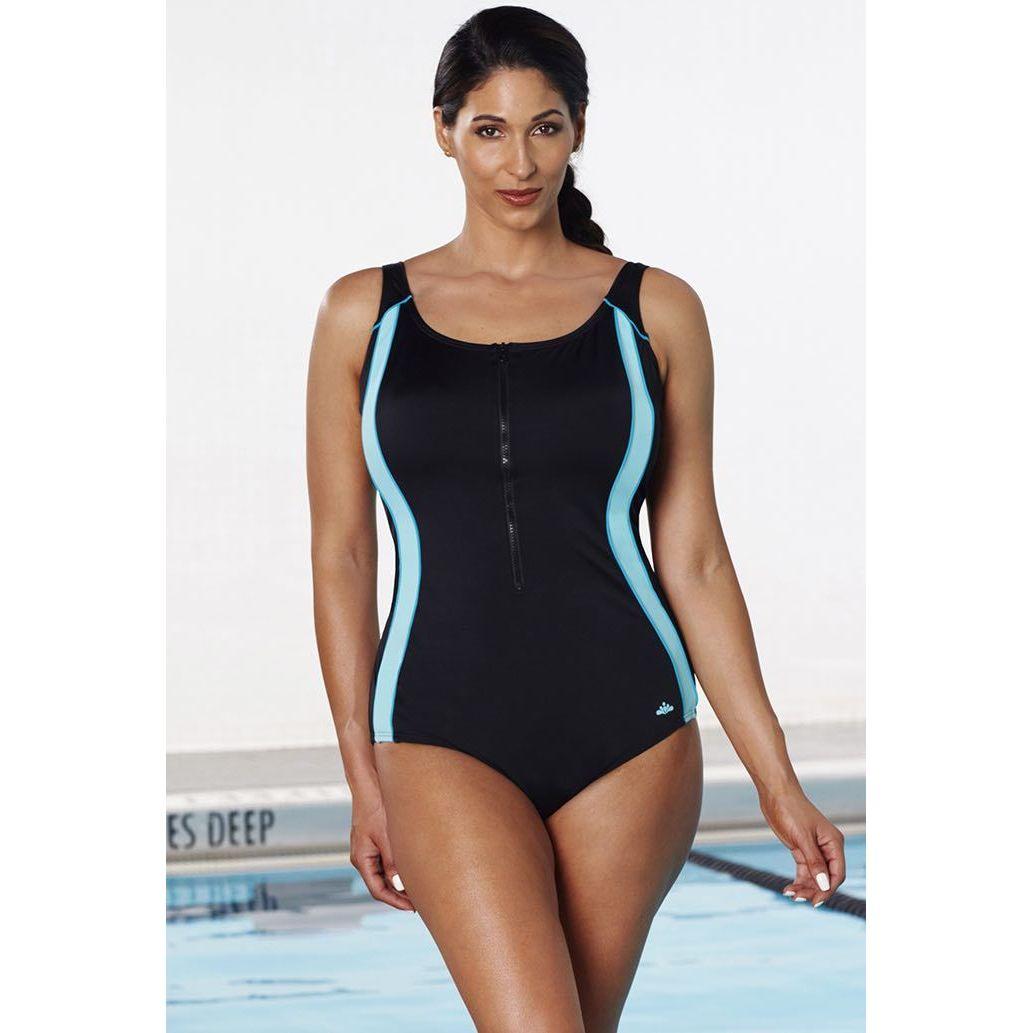 00489e141dc52 Shop Aquabelle Xtra Life Lycra Mint Zip Front Swimsuit - Free ...