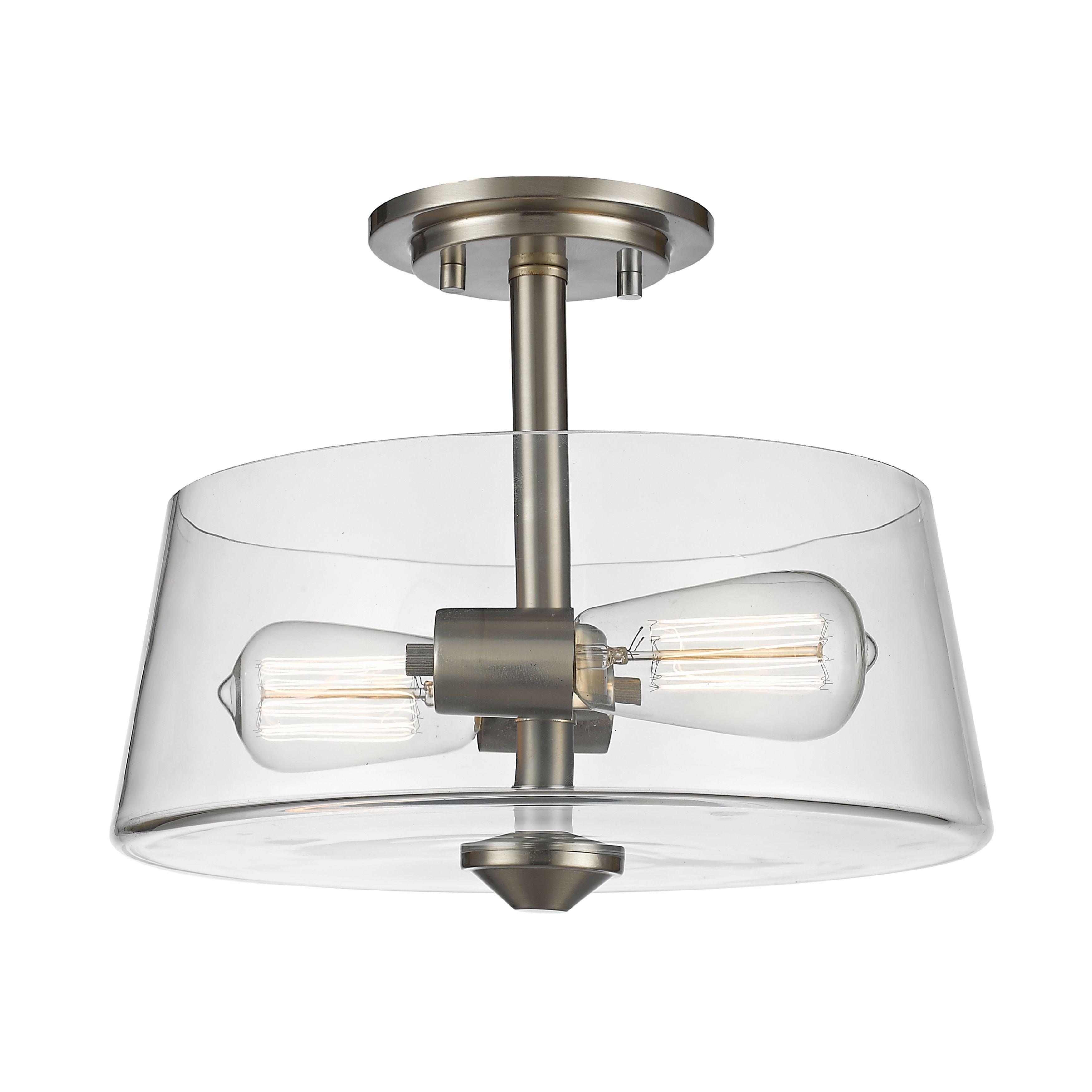 Avery home lighting 2 light semi flush mount in brushed nickel