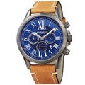Akribos XXIV Men's Quartz Dual-time Multifunctional Leather Silver-Tone Strap Watch with FREE GIFT - Blue