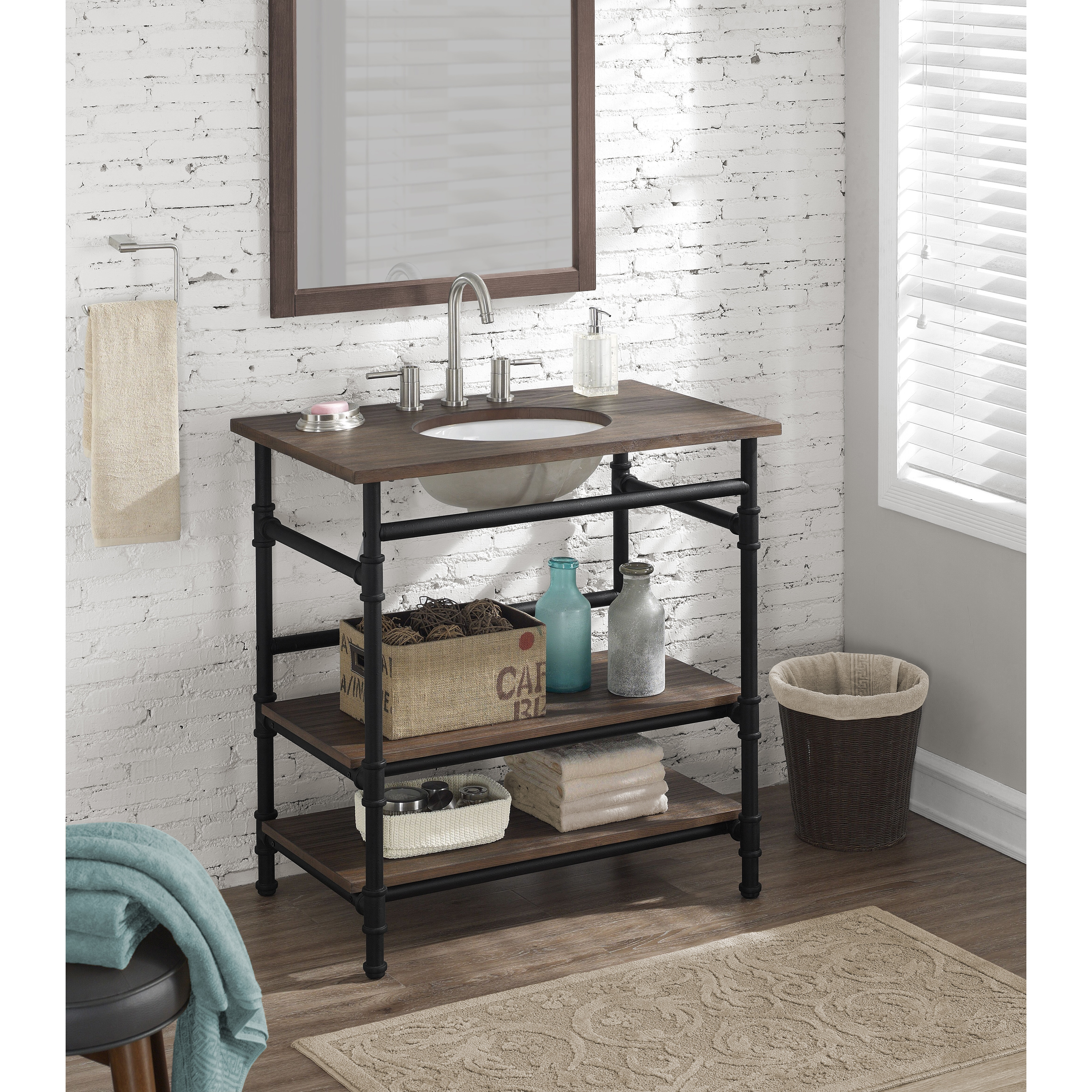 36-inch Industrial Open Shelf Vanity - Free Shipping Today ...