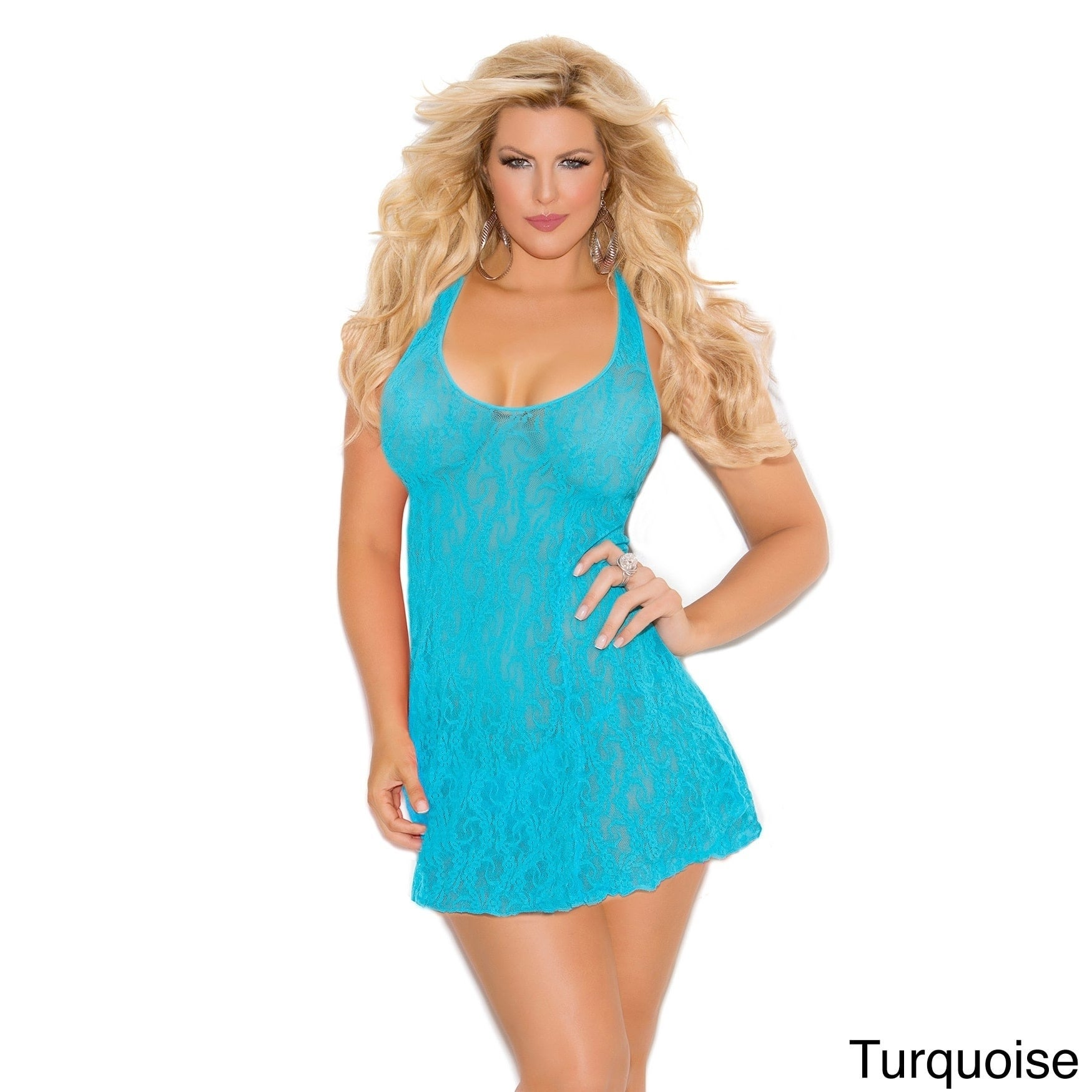 8e624fa7b88f Shop Elegant Moments Women's Plus Size Lace Halter Mini Dress in Queen Size.  - Free Shipping On Orders Over $45 - Overstock - 11193316
